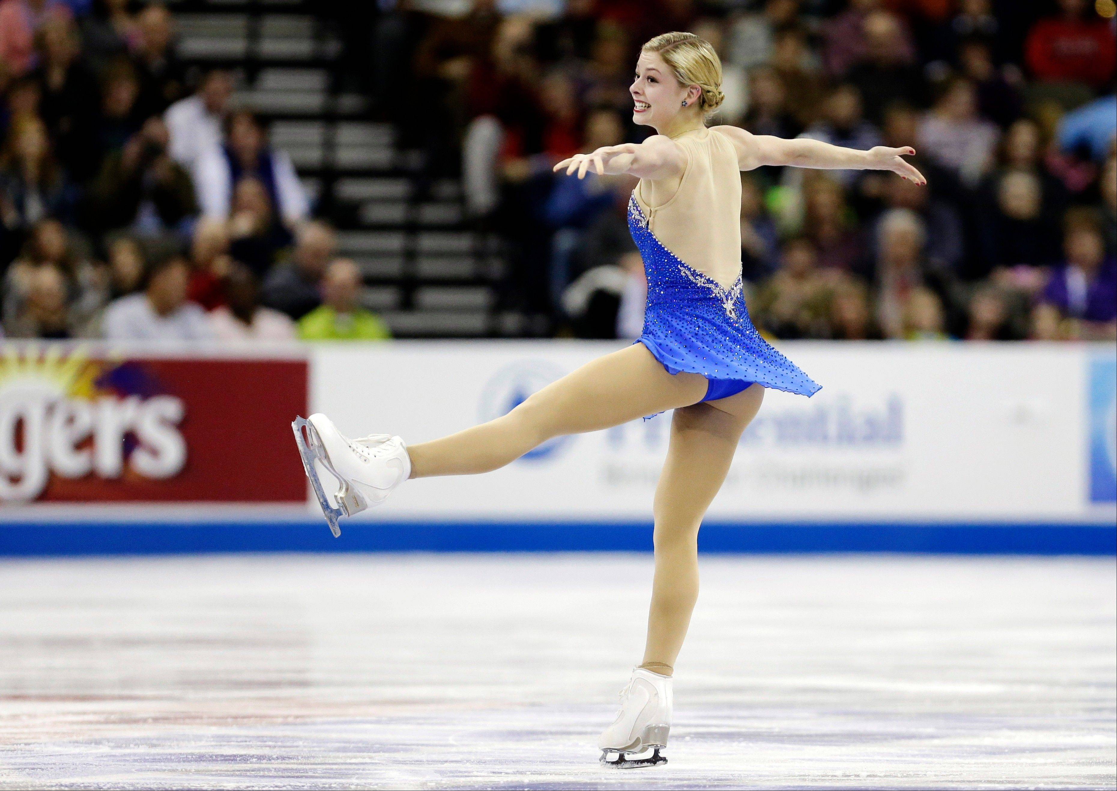 Gracie Gold captured the senior ladies free skate program at the U.S. figure skating championships, lifting her from ninth place entering the competion to a stunning second place finish.