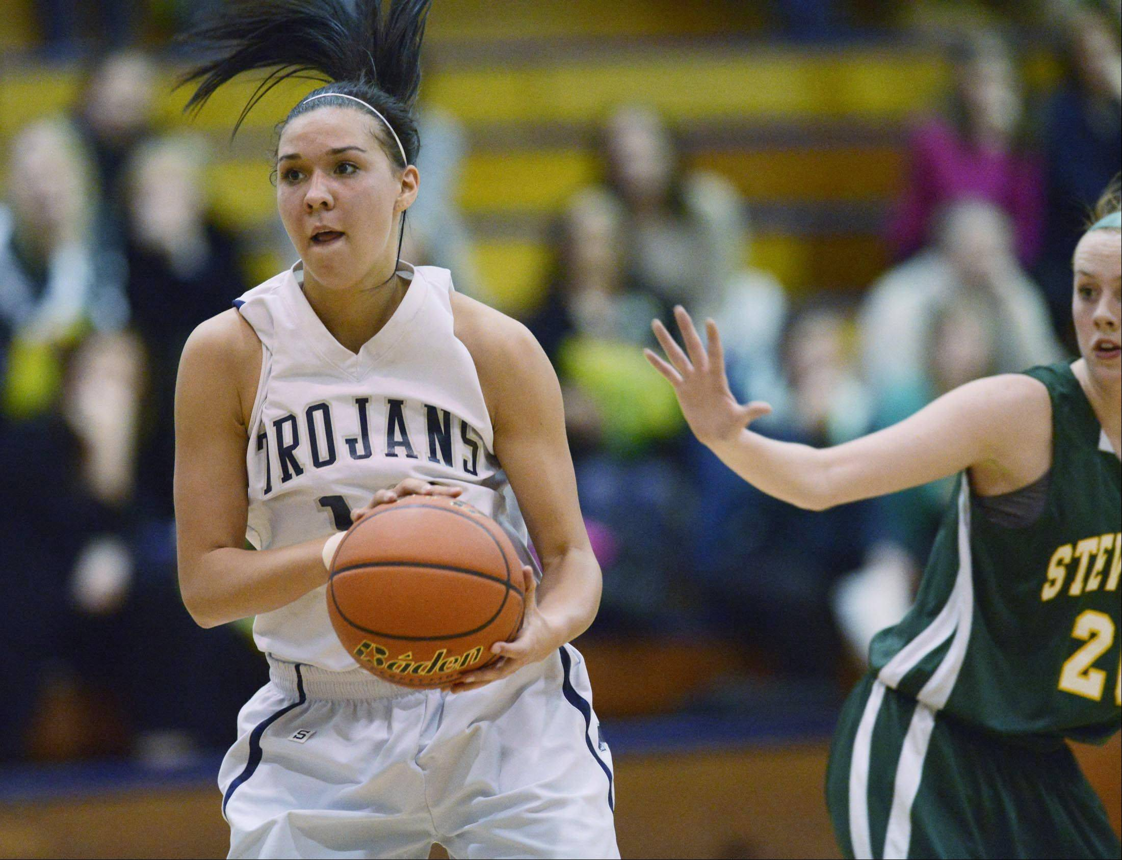 Cary-Grove�s Joslyn Nicholson, left, looks to pass against Stevenson last week.
