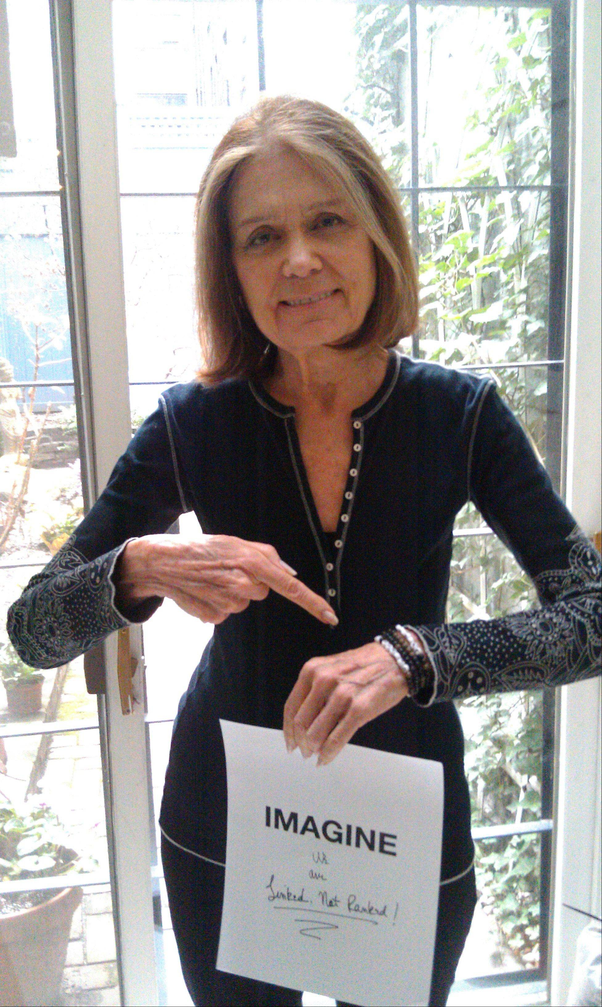 Gloria Steinem wearing a bracelet she created for ImagiNation 365. Steinem, Yoko Ono and Lauren Bush are joining forces to give female empowerment a global boost.