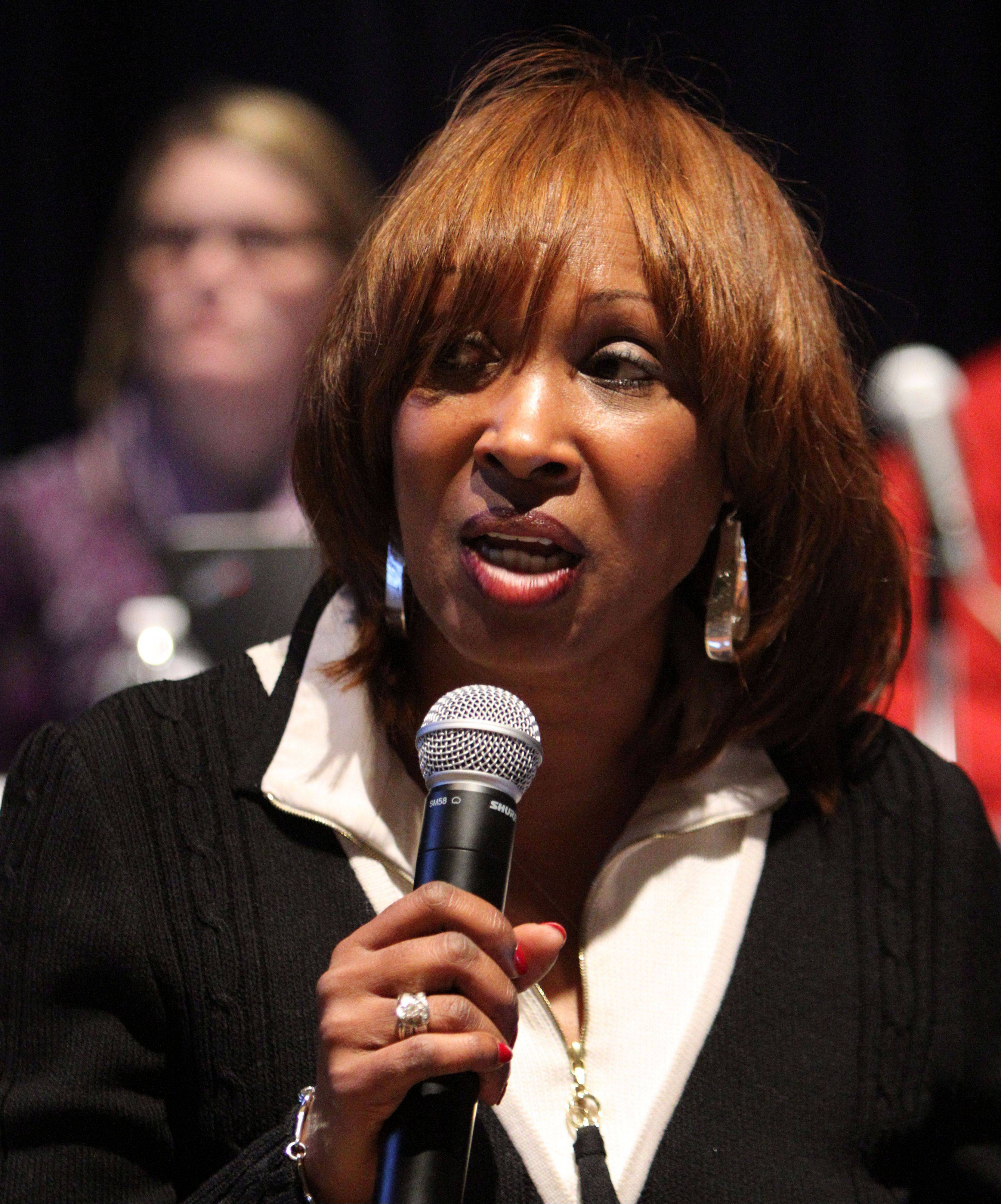 District 116 Superintendent Constance Collins on Monday night lays out a plan to restructure seven elementary schools.