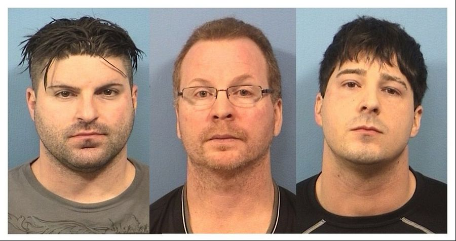 Schaumburg police facing drug conspiracy charges are, from left, Matthew Hudak, Terrance O'Brien and John Cichy.
