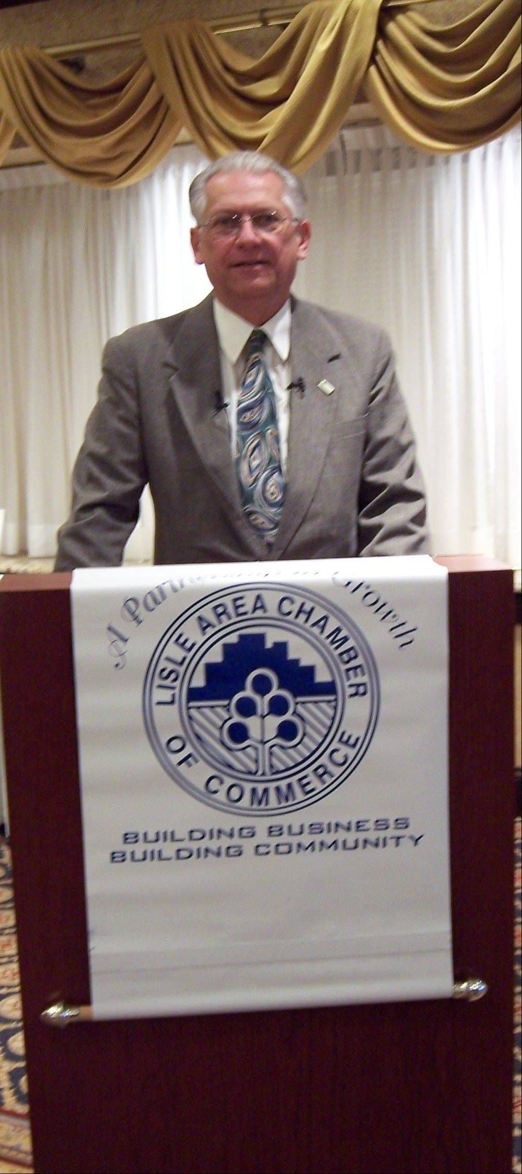 Lisle Mayor Joe Broda presents his State of the Village address.