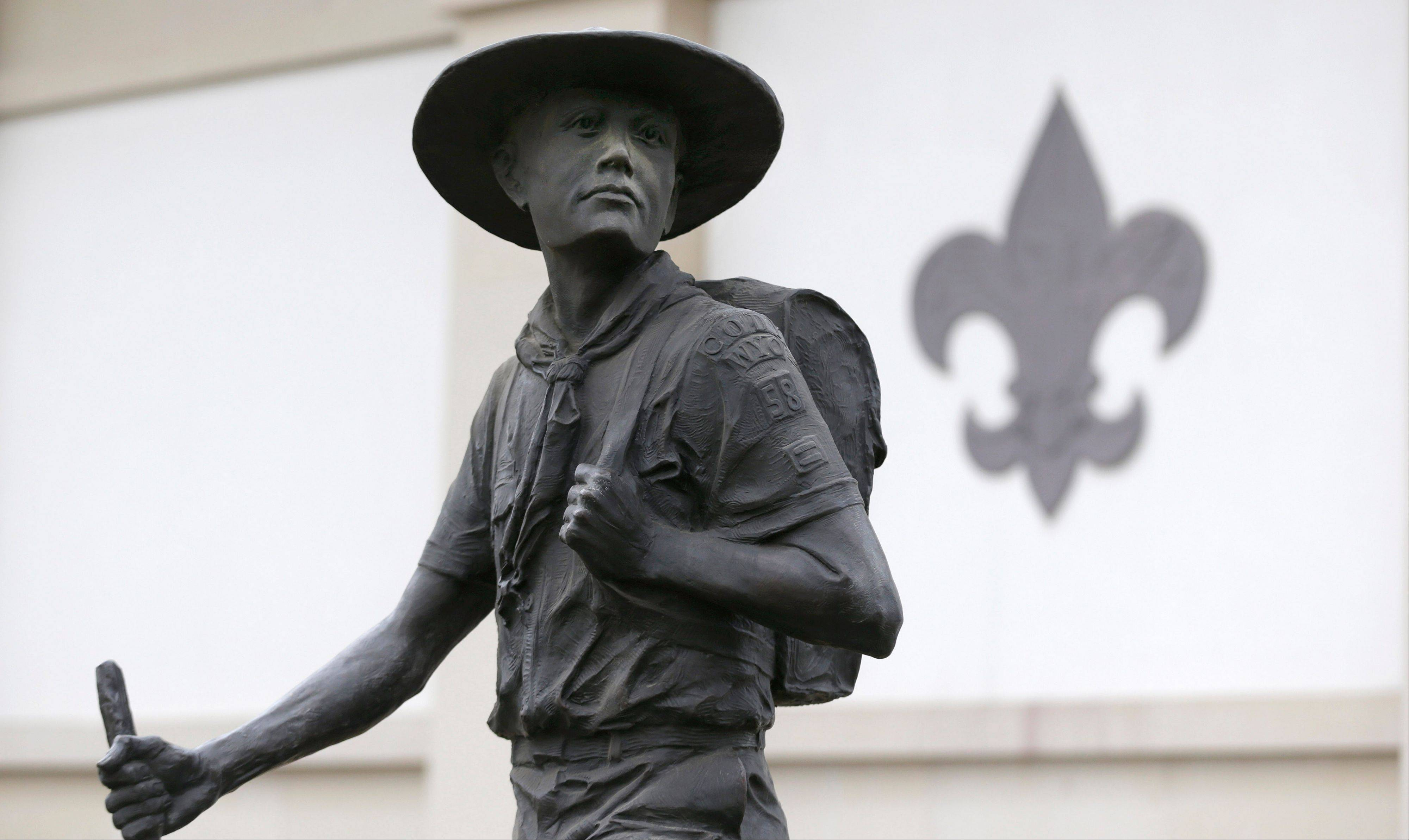 A statue of a Boy Scout stands in front of the National Scouting Museum in Irving, Texas. The Boy Scouts of America announced it is considering a dramatic retreat from its controversial policy of excluding gays as leaders and youth members.