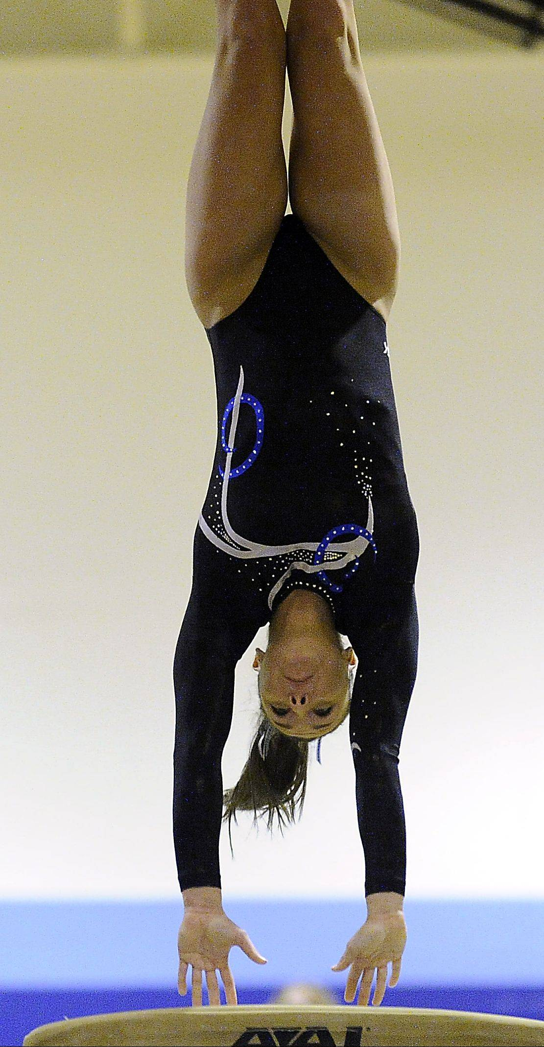 Gianna Scala of Prospect performs her vault routine at the Prospect regional on Monday.