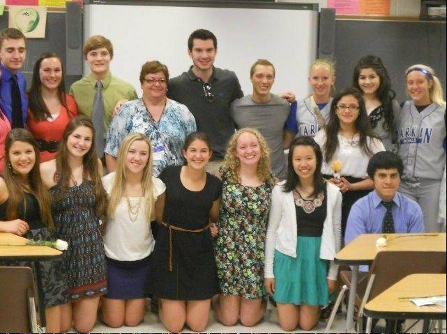 A fundraiser will be held Monday, Feb. 11, to help support Larkin High teacher Deborah Daly, shown here with her students from last year. Daly, who recently suffered five strokes, also has worked as a nurse at Provena St. Joseph Hospital.