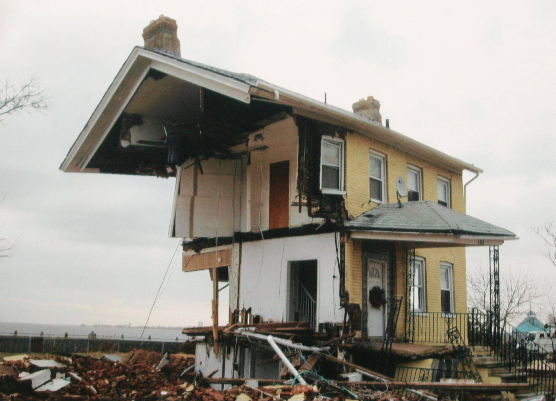 This is a devastated home on Front Street in Union Beach, N.J., after being hit by Hurricane Sandy.