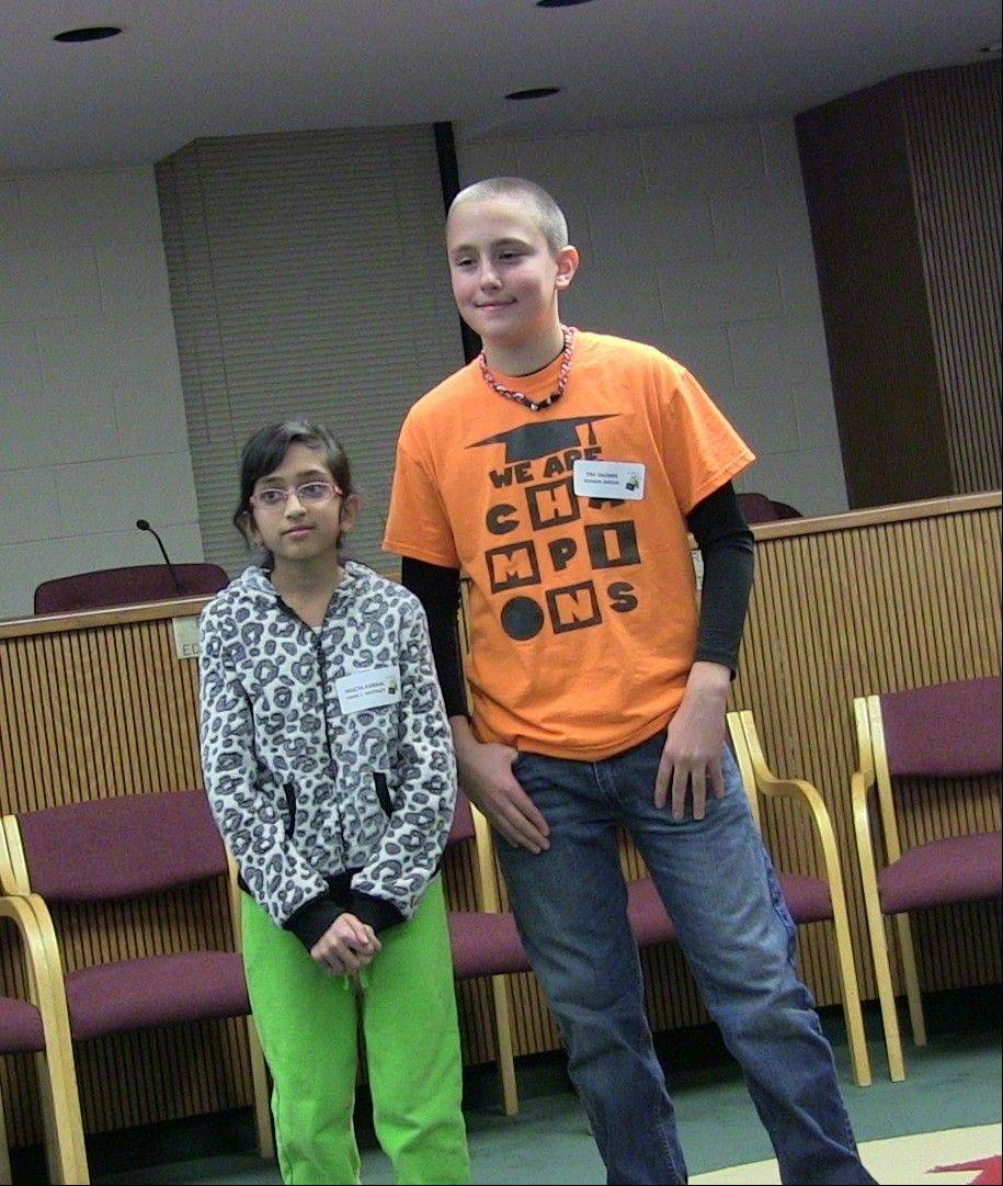 Pragya Kansal, a sixth-grader at Frank C. Whiteley School, won the District 15 Spelling Bee, holding off second-place finisher Tim Okonek, a sixth-grader at Marion Jordan School.
