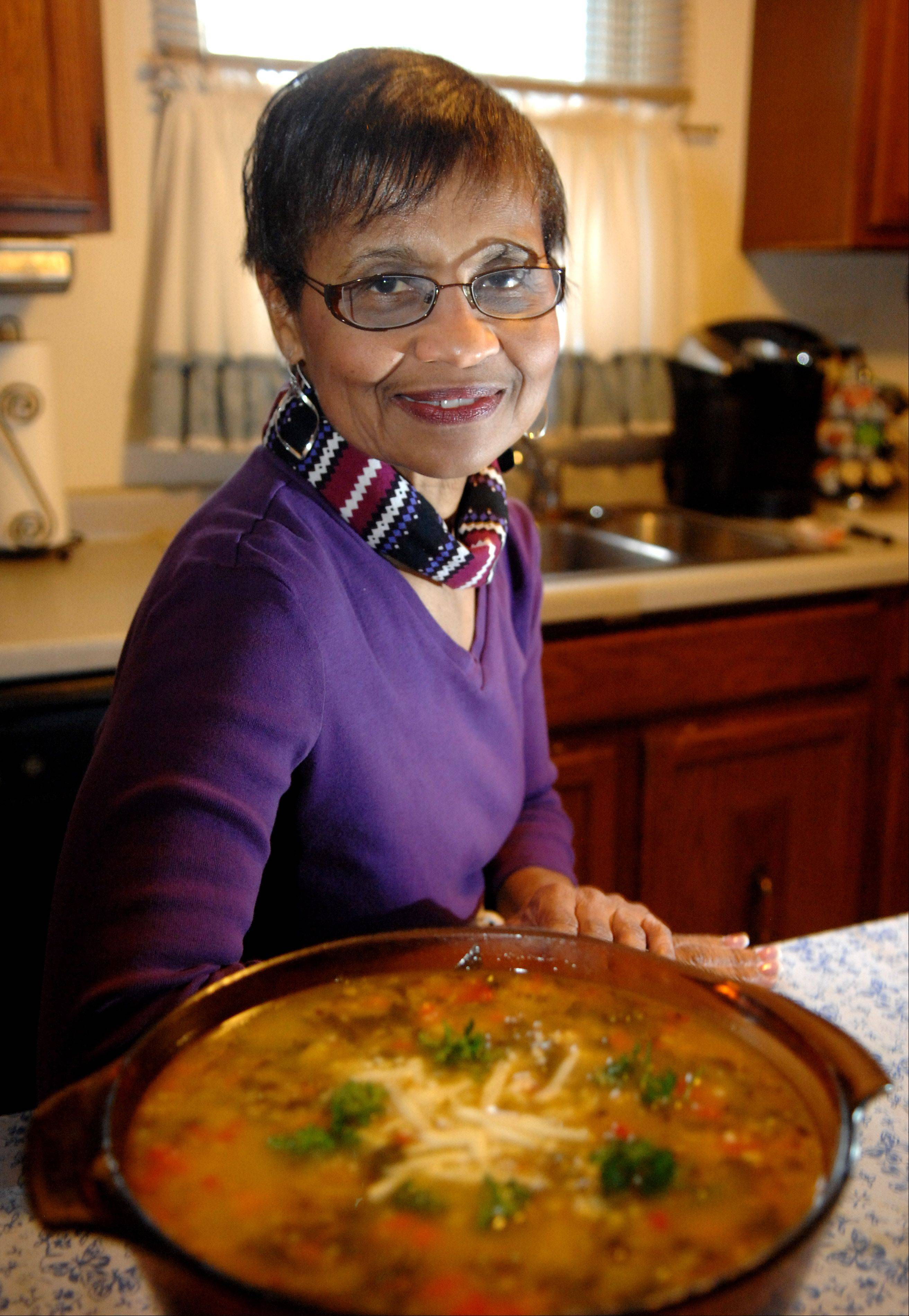 Rose Allen re-created a quinoa soup she tried in Washington D.C.; she changed up the recipe to include white beans.