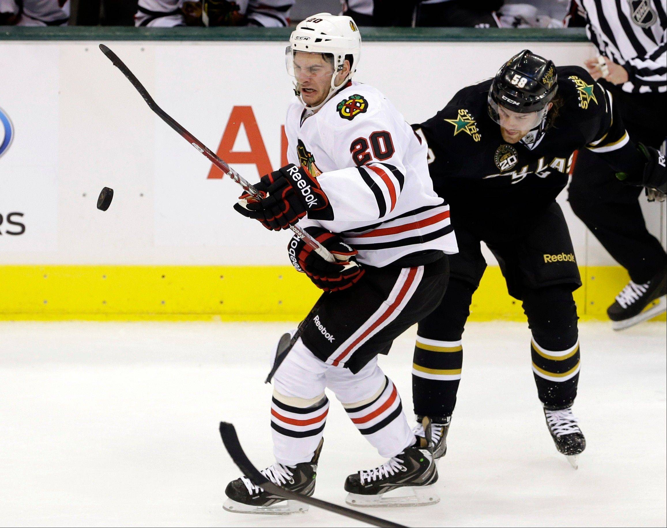 Left winger Brandon Saad (20) has impressed Blackhawks head coach Joel Quenneville this season despite going scoreless on the top line with Jonathan Toews and Marian Hossa.