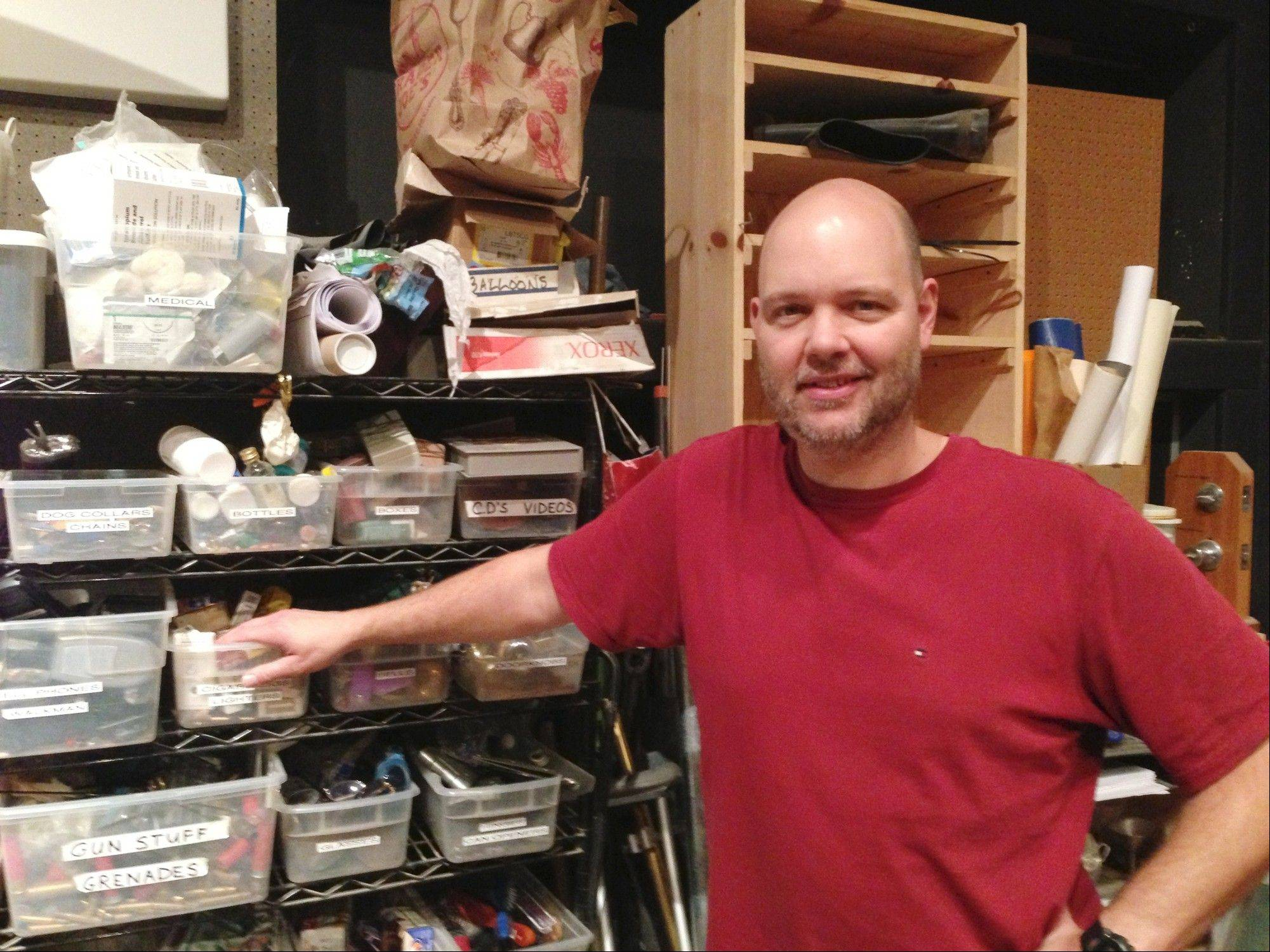 "Prospect High School grad Alex Ullrich has been a Foley Artist for more than a decade, performing sound effects for such films as ""The Hurt Locker"" and ""Zero Dark Thirty."" Note the box marked ""Gun Stuff and Grenades."""