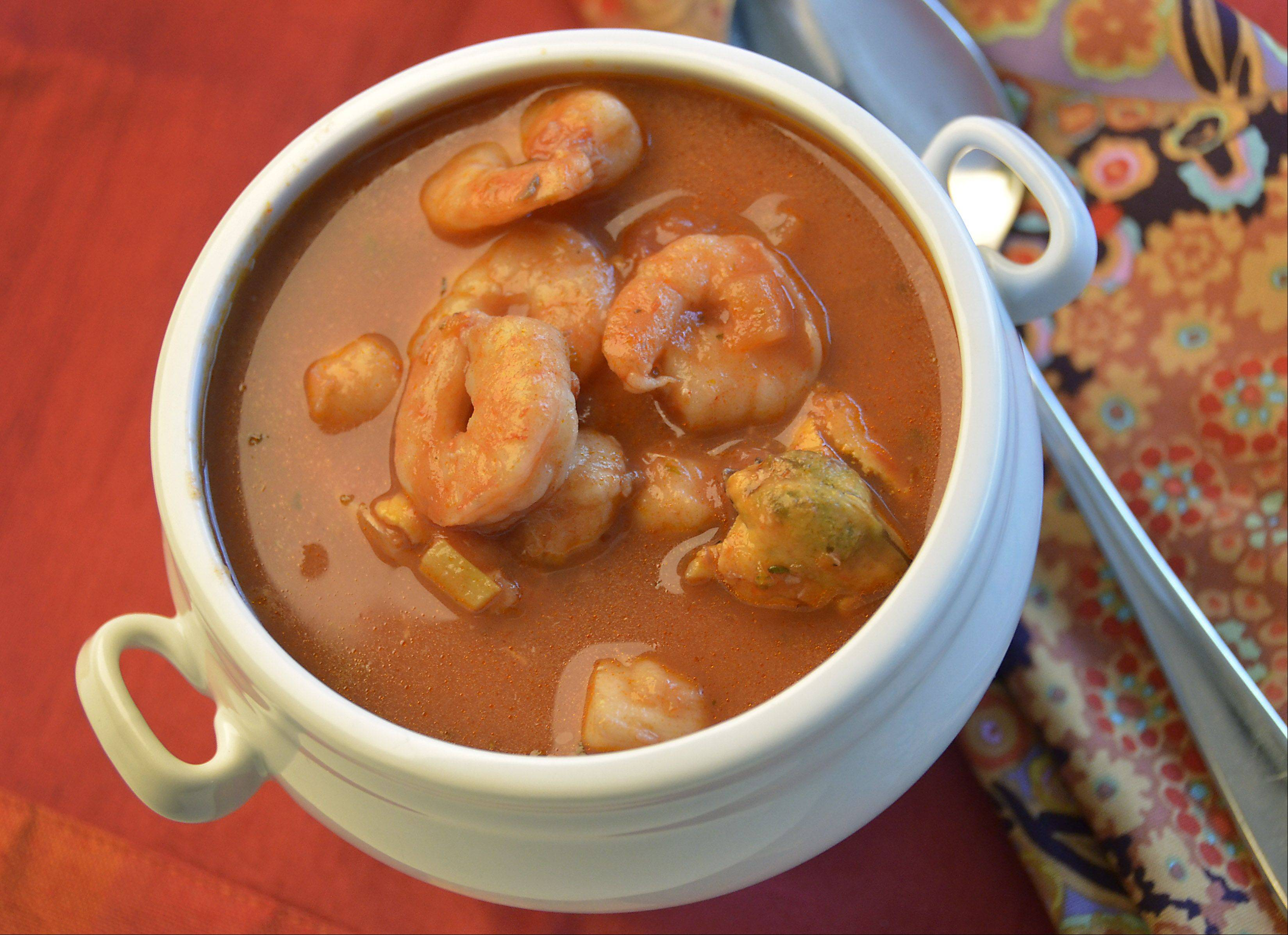 Cioppino is a fish stew that originated in the North Beach section of San Francisco.