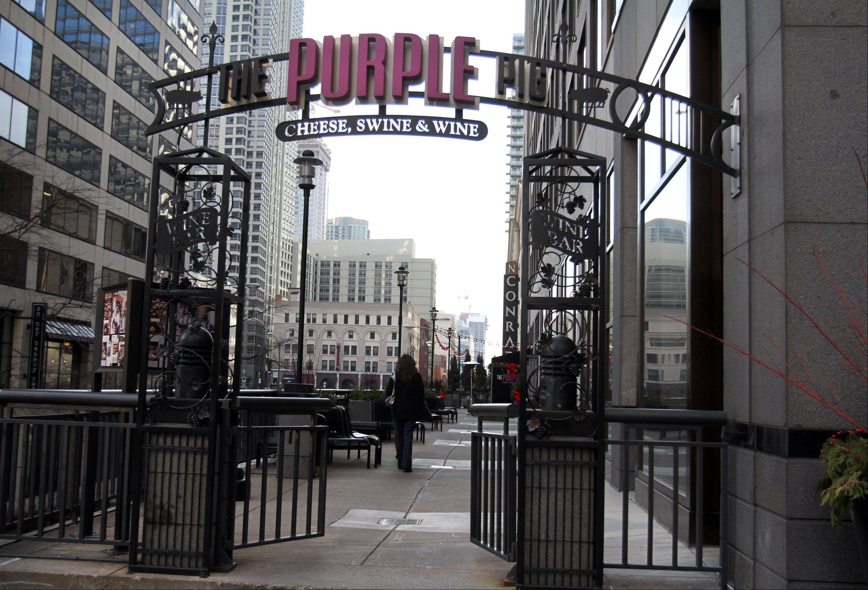 In warmer weather, The Purple Pig offers outdoor dining along a gated sidewalk right off Michigan Avenue.
