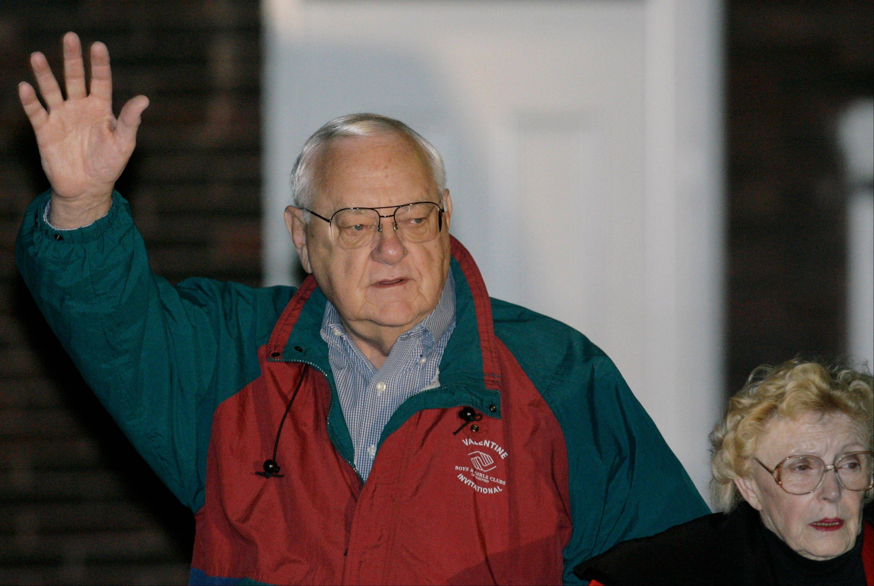 Former Gov. George Ryan leaves his Kankakee home with his wife, Lura Lynn, in 2007 as he prepares to report to prison. Lura Lynn Ryan died in 2011.