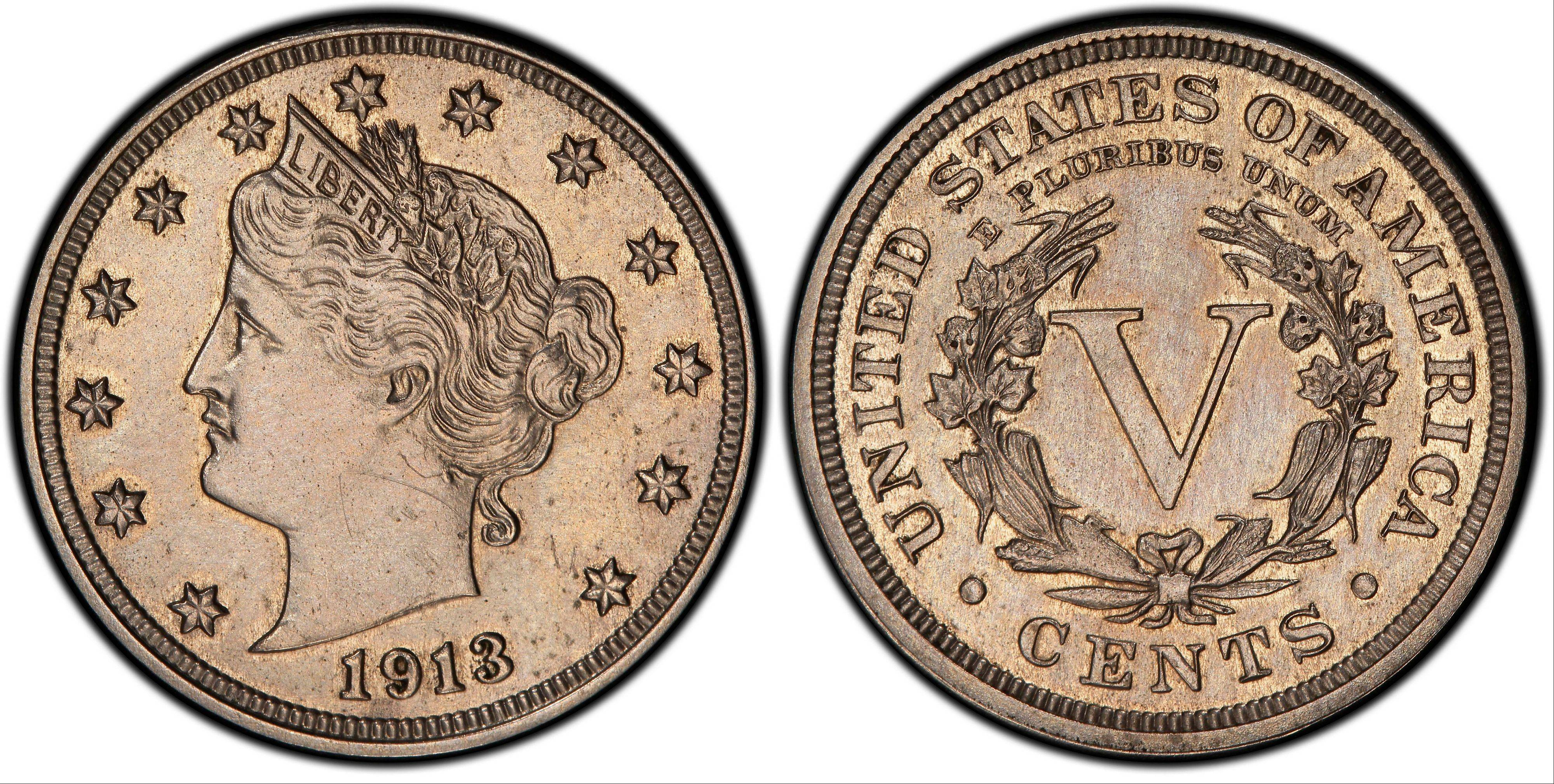 This image provided by Heritage Auctions shows an authentic 1913 Liberty Head nickel that was hidden in a Virginia closet for 41 years after its owners were mistakenly told it was a fake. The nickel is one of only five known and expected to sell for $2.5 million or more in an auction conducted by Heritage Auctions in Schaumburg on April 25.
