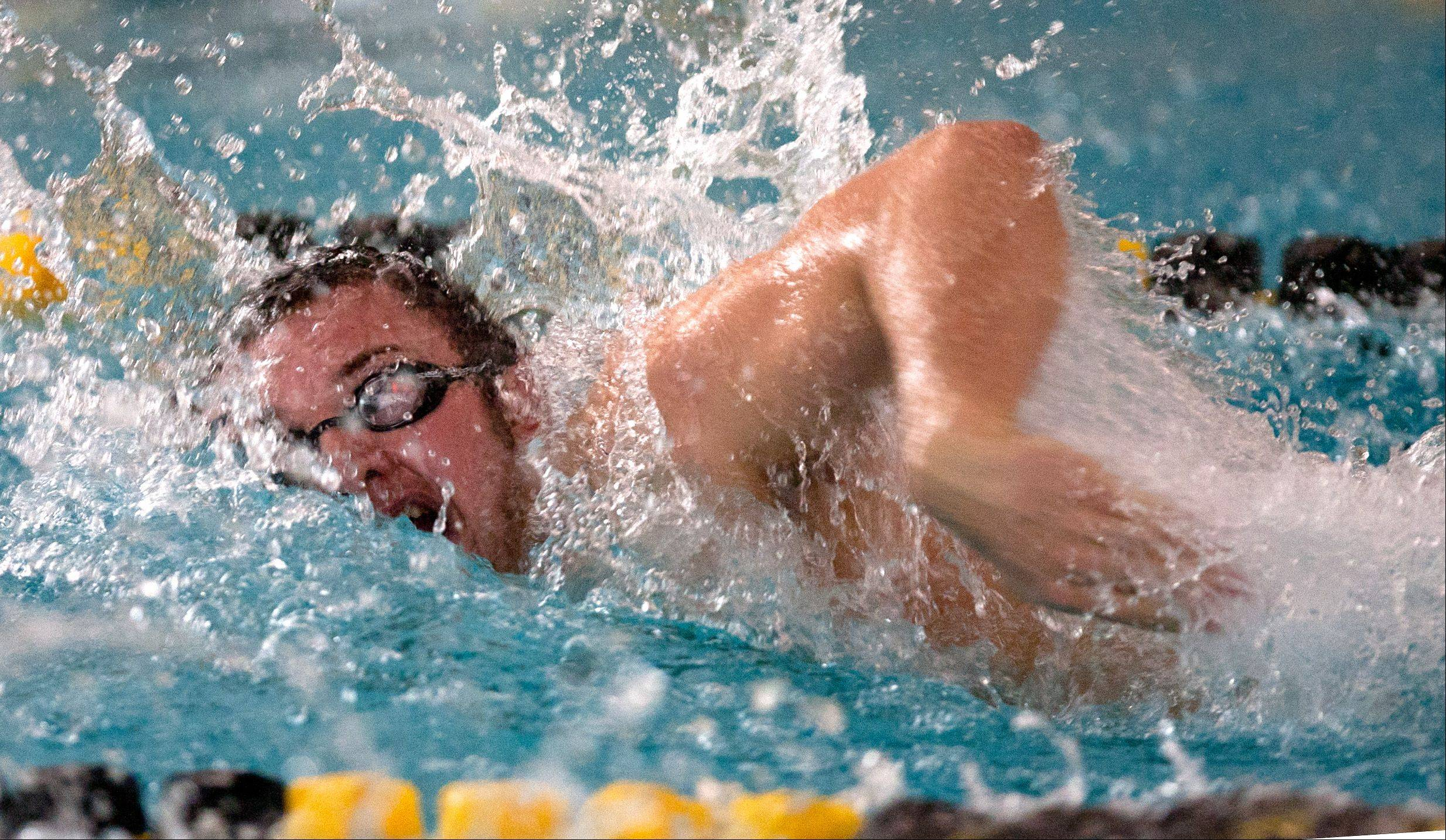 Metea Valley's Alex Walter swims the 100-yard freestyle event Saturday during the Mustang Swim and Dive Invite hosted by Metea Valley High School.