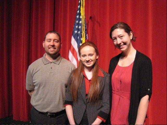 Grayslake North High School senior Heather Richey, with teachers Chris Kubic and Emily.