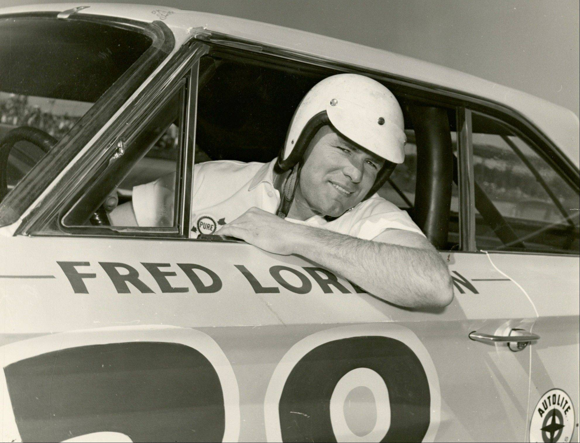 Elmhurst's Fred Lorenzen with his No. 28 Ford Galaxie was well-known on the NASCAR circuit and won the 1965 Daytona 500.
