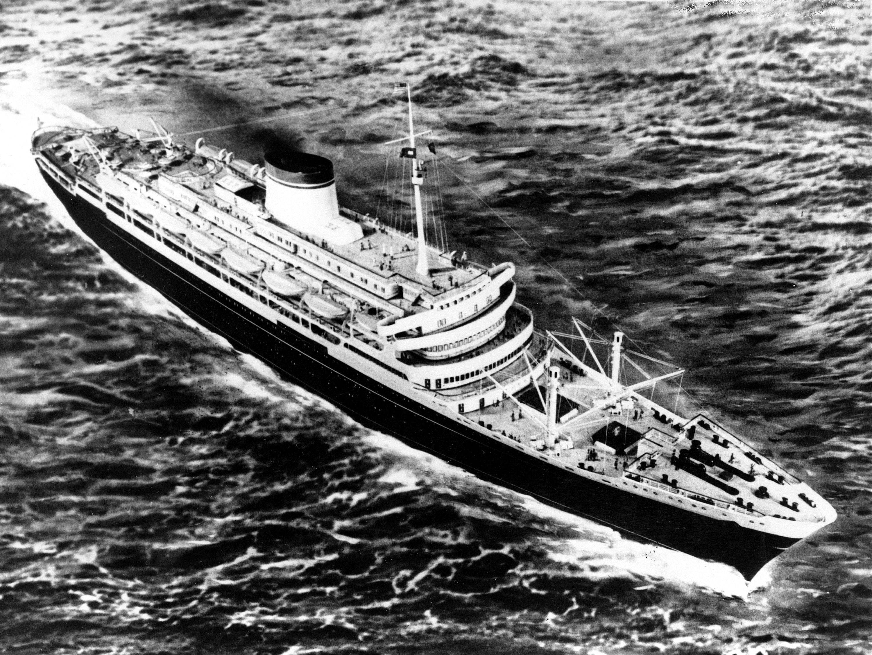 This is an undated photo of the 29,000-ton Italian luxury liner Andrea Doria. The passenger ship was struck by the Swedish-American vessel off Nantucket Island, Ma., July 25, 1956. The surviving passengers and crew were rescued before the ship sank in the Atlantic. The steamship measures 697 feet in length and was built in 1953.