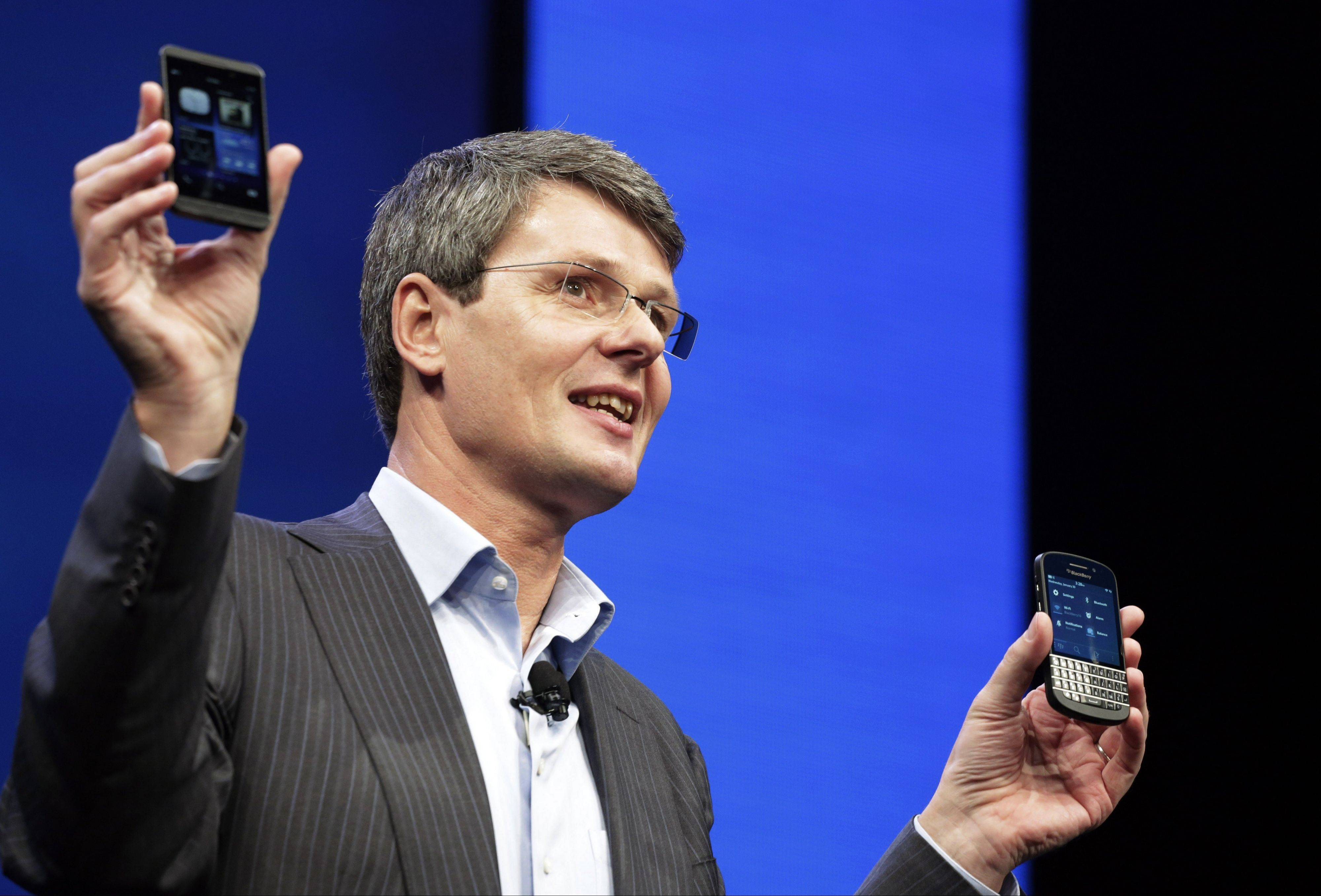 Thorsten Heins, CEO of Research in Motion, introduces the BlackBerry 10, Wednesday in New York. The maker of the BlackBerry smartphone is promising a speedy browser, a superb typing experience and the ability to keep work and personal identities separate on the same phone, the fruit of a crucial, long-overdue makeover for the Canadian company.