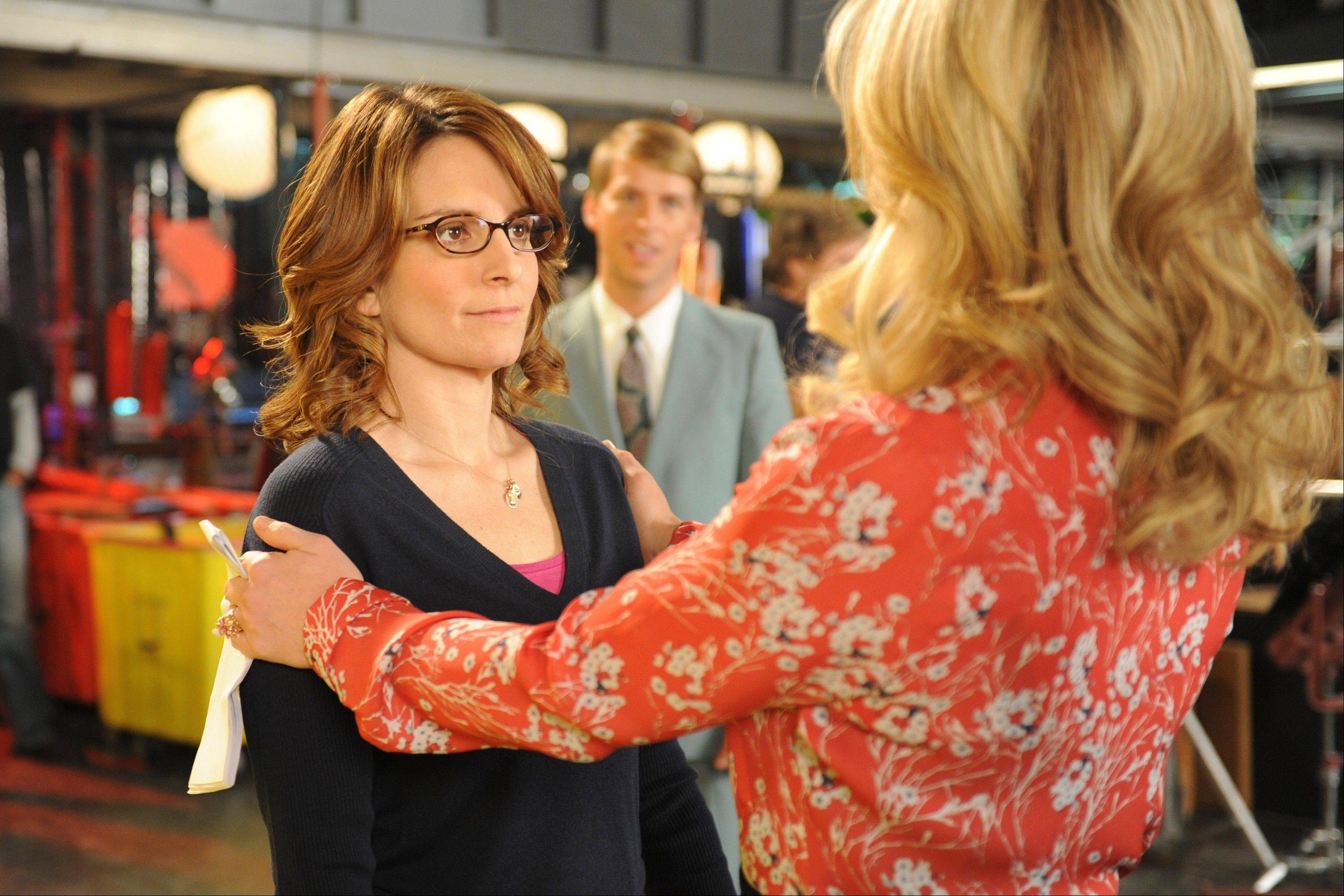 "Tina Fey as Liz Lemon, left, and Jane Krakowski as Jenna Maroney from the series finale of ""30 Rock,"" airing Thursday on NBC."
