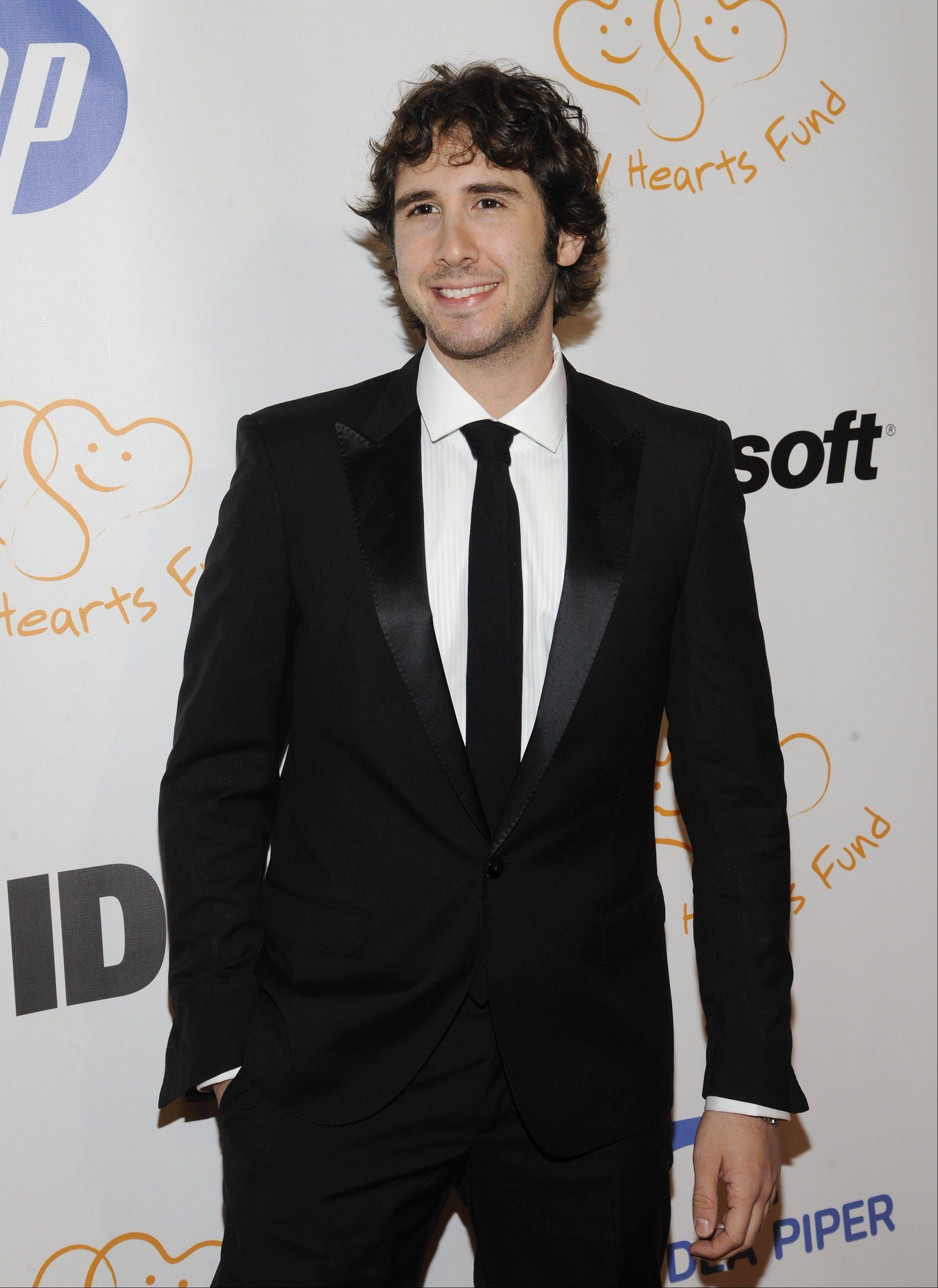 Singer Josh Groban performs in concert Monday in an HD screening shown in area movie theaters.