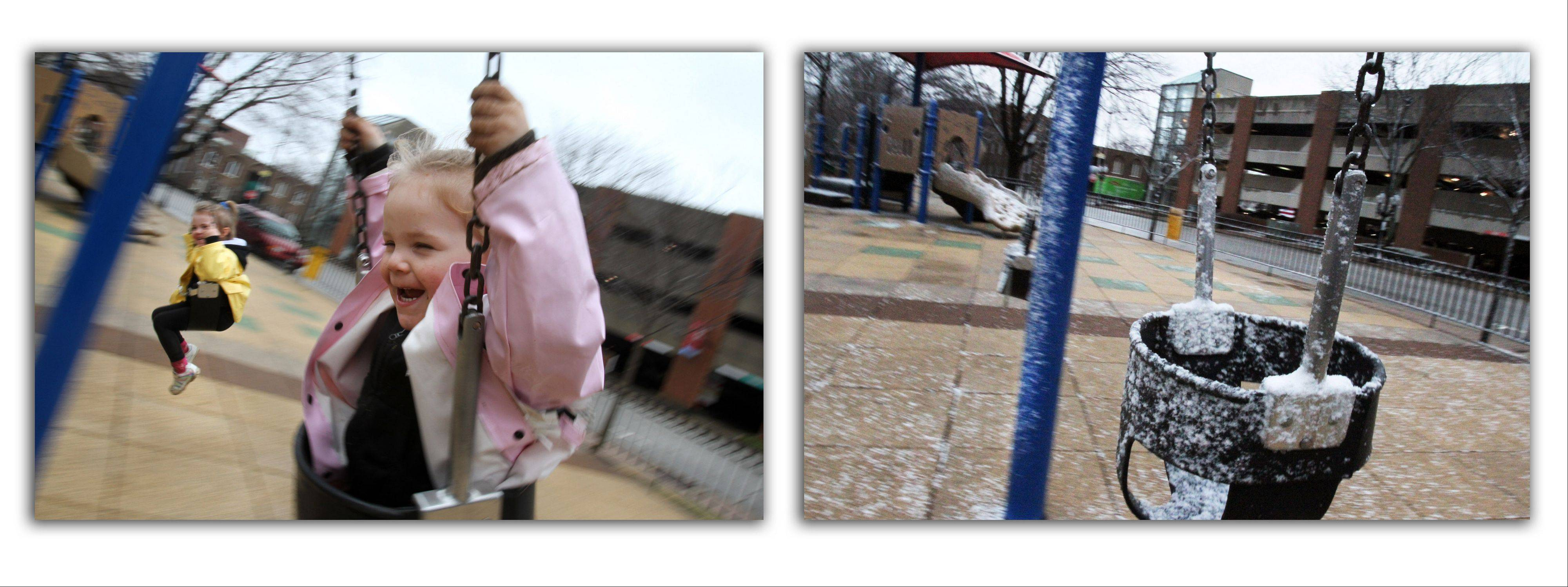 On Tuesday, 3-year-old Madalynn Kerley, sister Melody, 4, and mother Michelle, all of Palatine, enjoyed the swing and 60-degree temperatures at North School Park in Arlington Heights. On Wednesday, snow and freezing rain moved in.