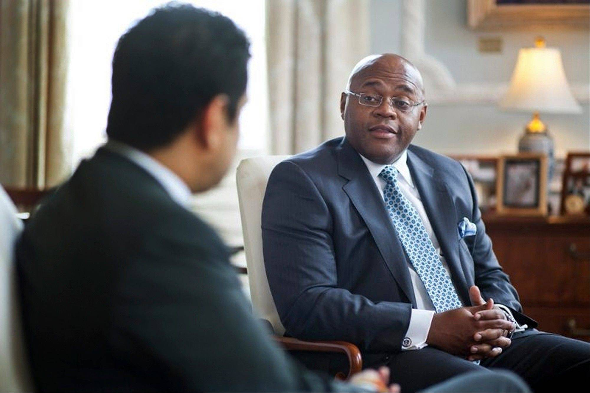 "William ""Mo"" Cowan, right, former chief of staff for Gov. Deval Patrick. On Wednesday, Jan. 30 2013, Patrick will appoint Cowan as interim senator to fill our the term for John Kerry."