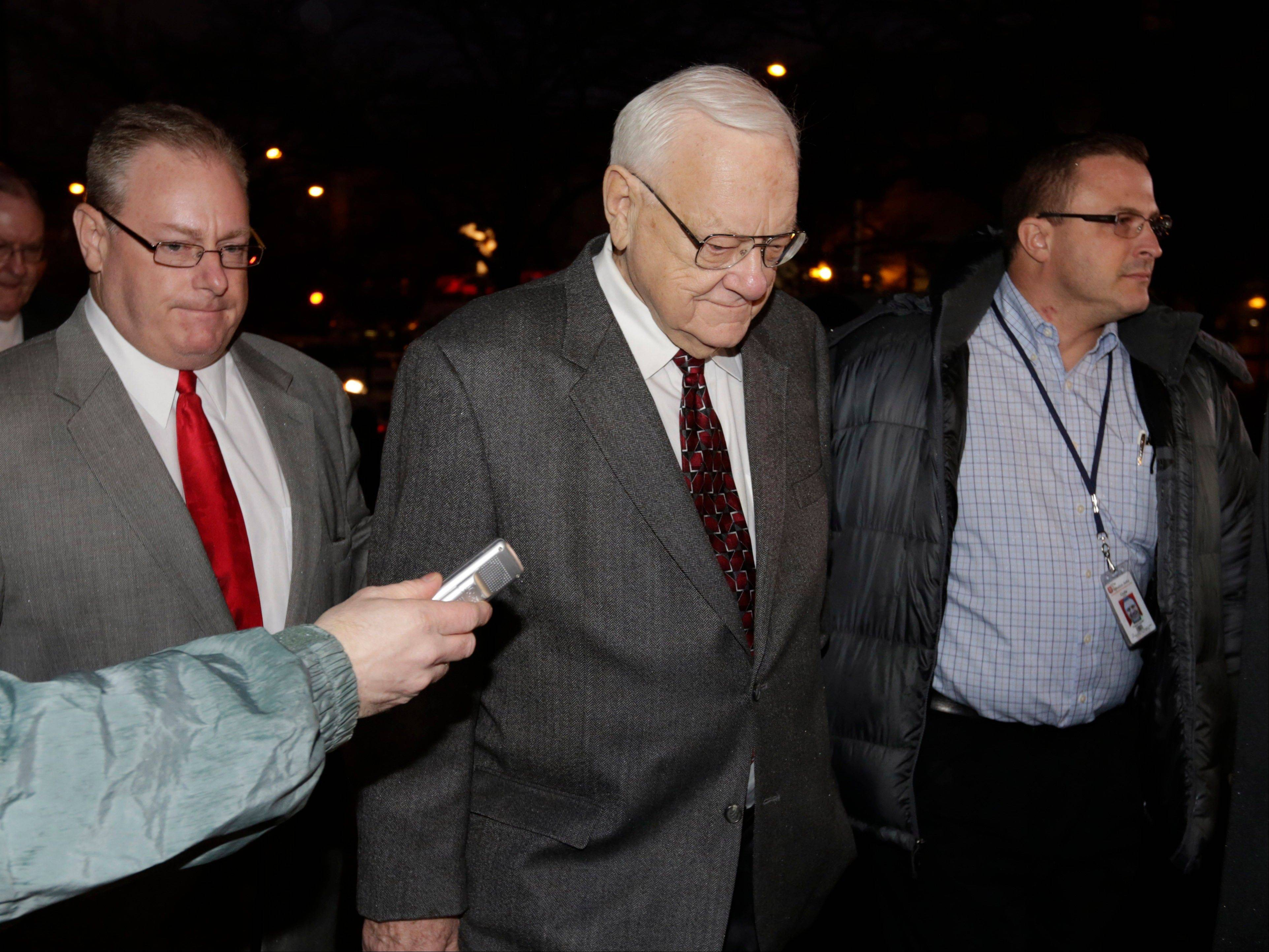 Former Gov. George Ryan arrives Wednesday at a halfway house in Chicago after serving five-plus years in federal prison on corruption charges. The 78-year-old Ryan now is at home in Kankakee.