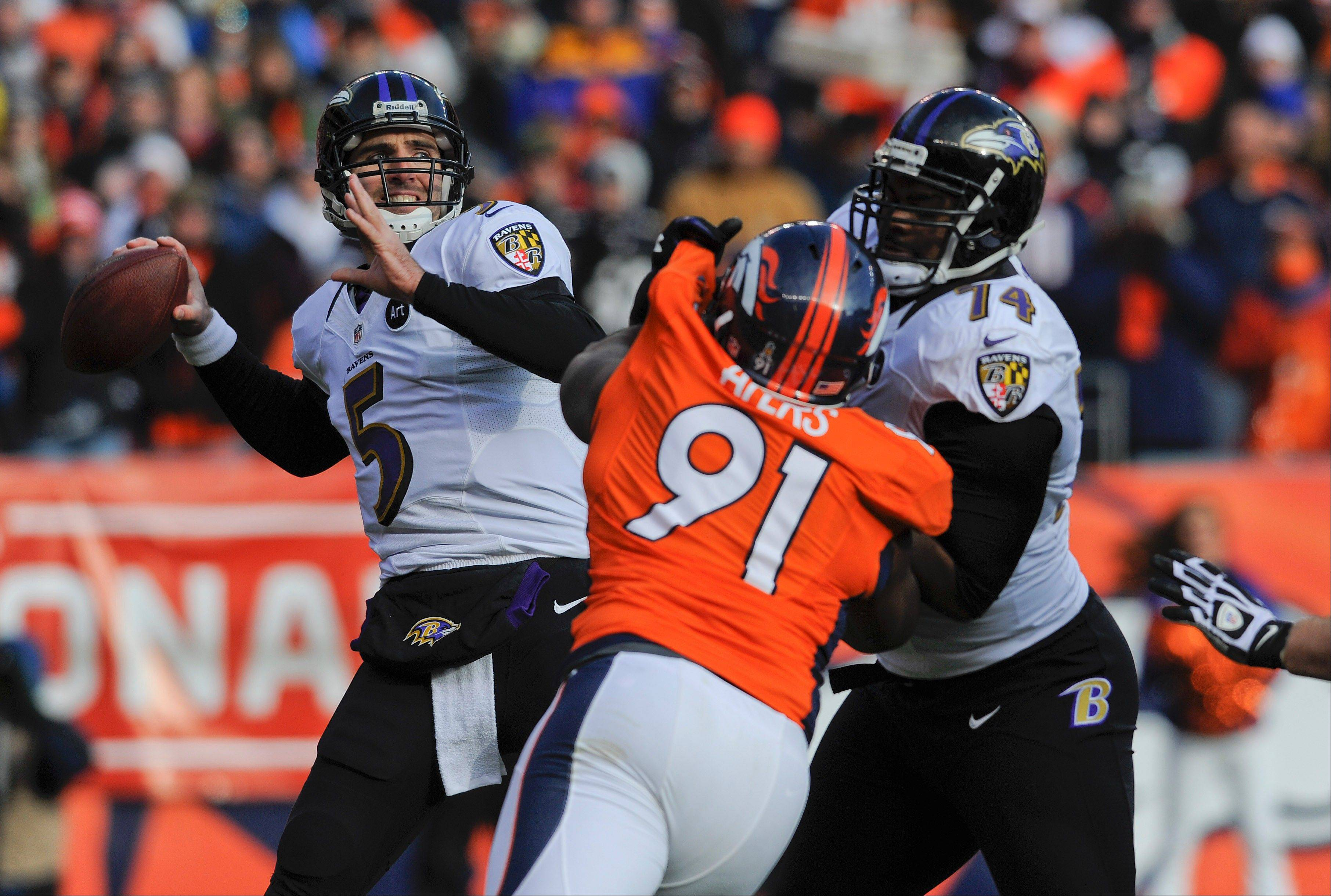 Baltimore Ravens quarterback Joe Flacco credits his offensive line for the team's postseason success this season. Here right tackle Michael Oher (74) blocks Denver Broncos defensive end Robert Ayers.