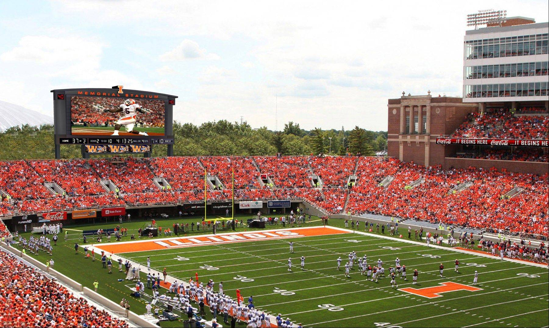 Next fall, the south end zone at Memorial Stadium in Champaign will have a new video display that will stand 36 feet tall by 96 feet wide. Other sound and video enhancements are planned throughout the stadium.