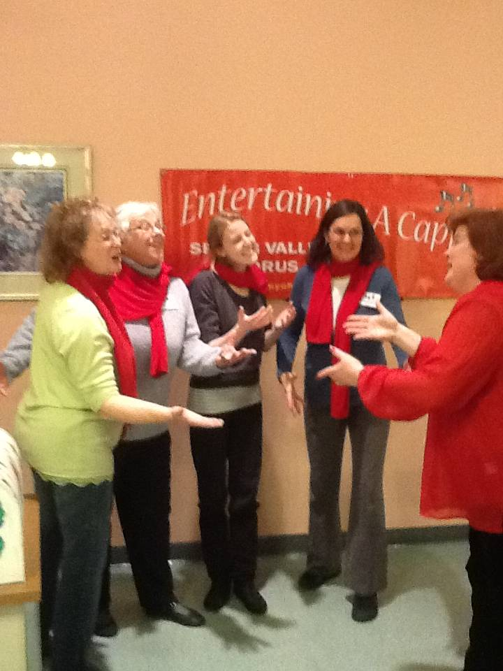 A Spring Valley Chorus Quartet Practices for Singing Valentines with Director Helen Giallombardo at the Barn in Schaumburg, IL