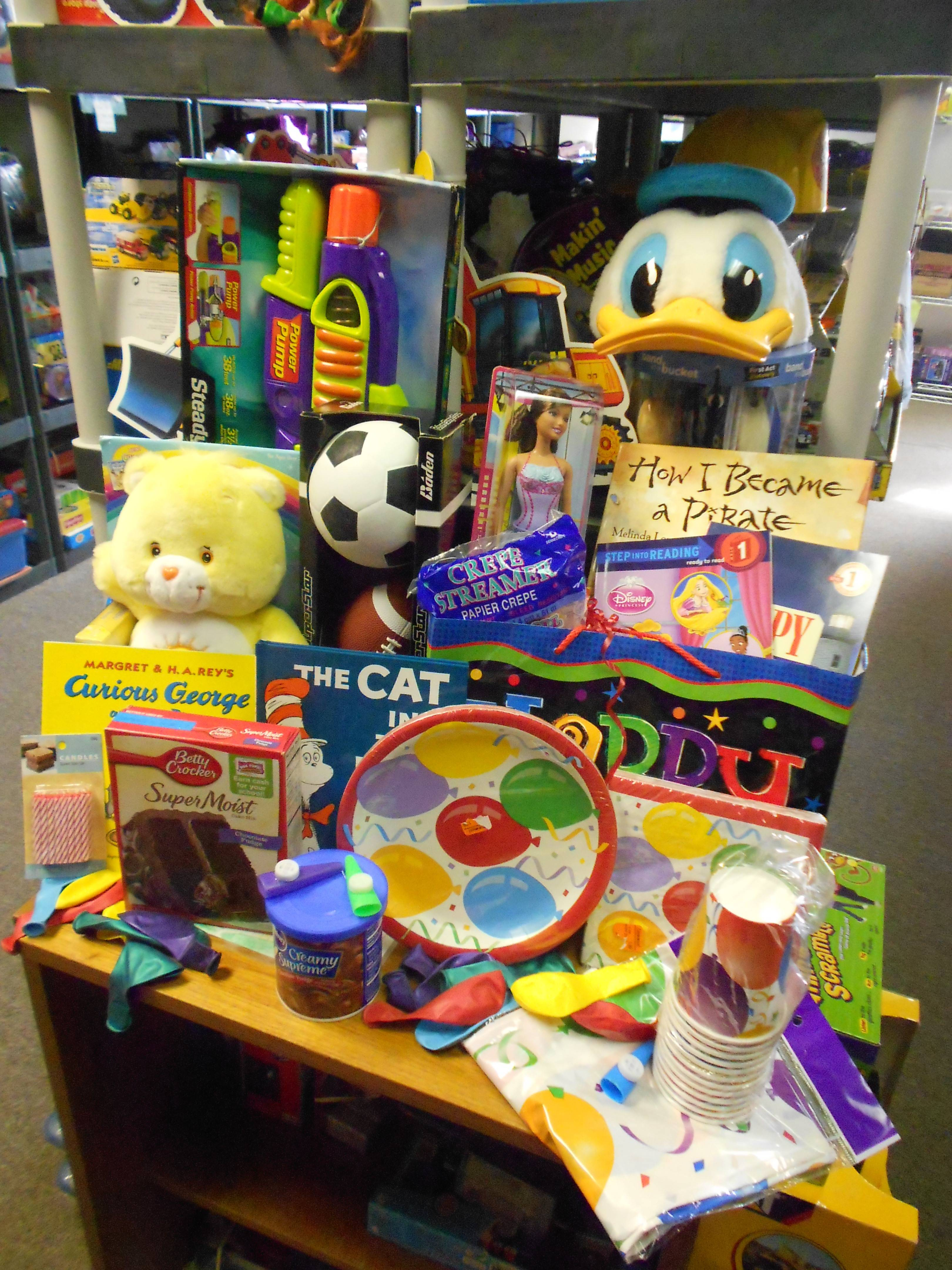 The contents of a birthday box for a needy child in HSP's program.