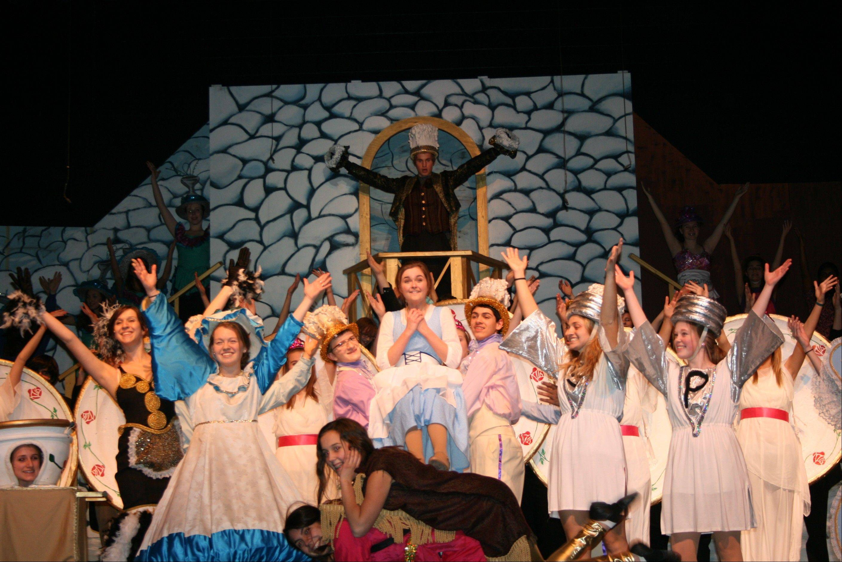 "The cast of ""Beauty and the Beast"" in dress rehearsal."
