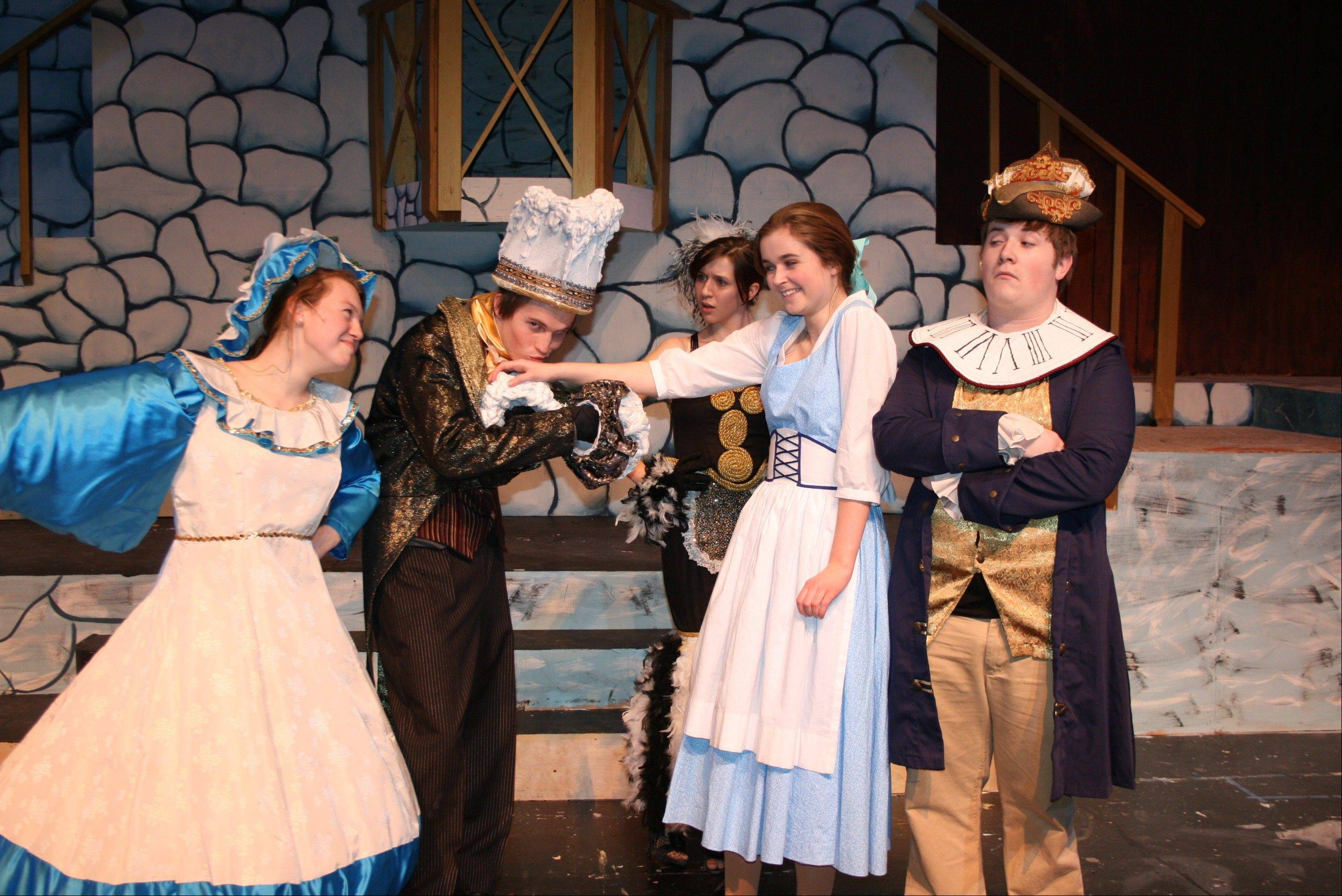 "Katie Cascino, Ryan Lavelle, Natalie Olson (background), Maddy Kelly and Sean Esterquest star in ""Disney's Beauty and the Beast."""