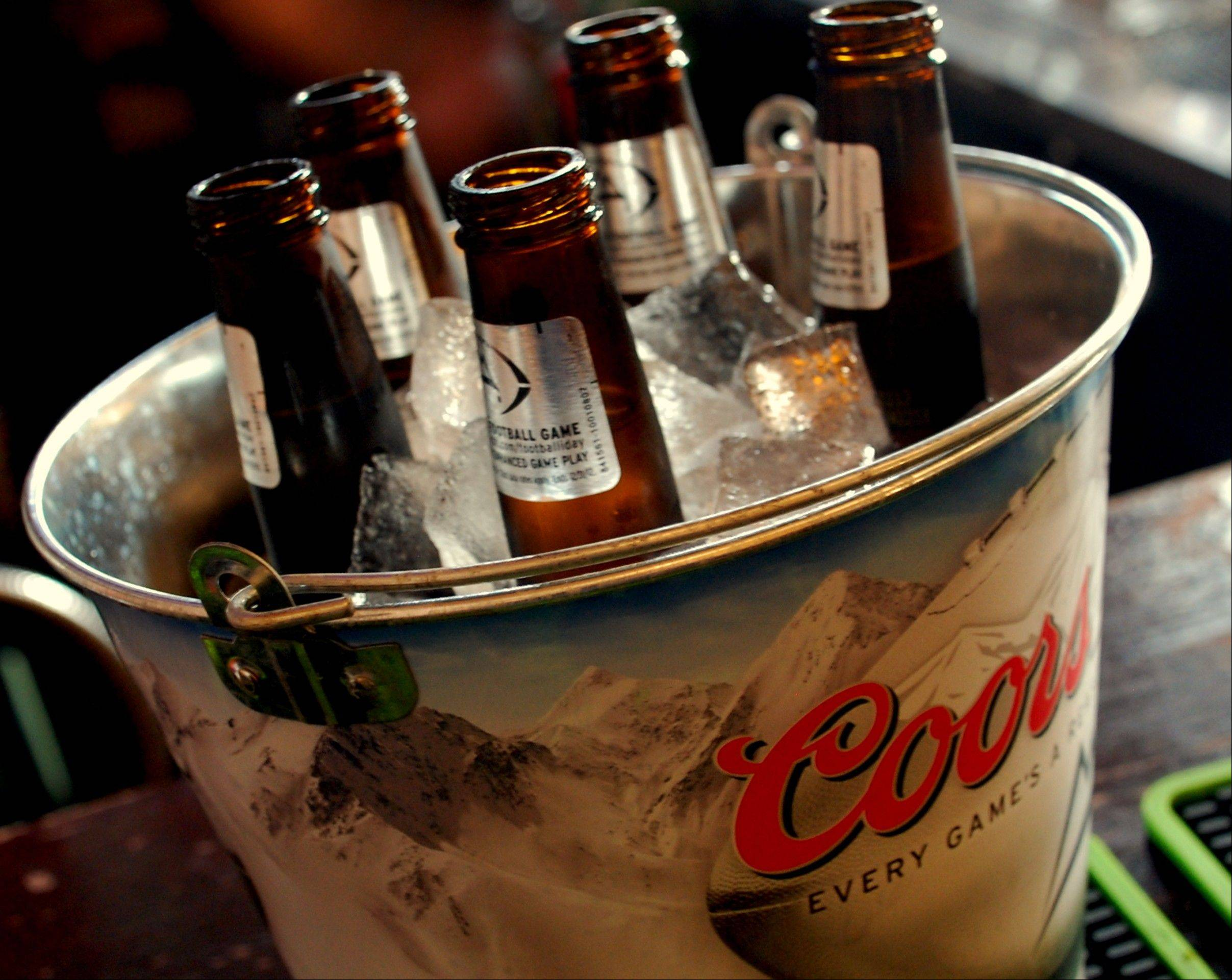 Grab a bucket of beer during Blackhawks games at Wickets.
