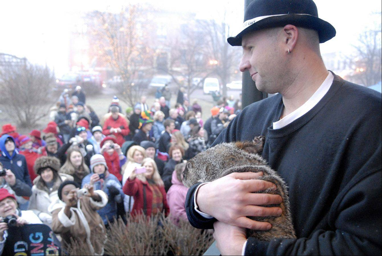 Animal handler Mark Szafarn of Chicago holds Woodstock Willie at last year's Groundhog Day prognostication in the Woodstock Square.