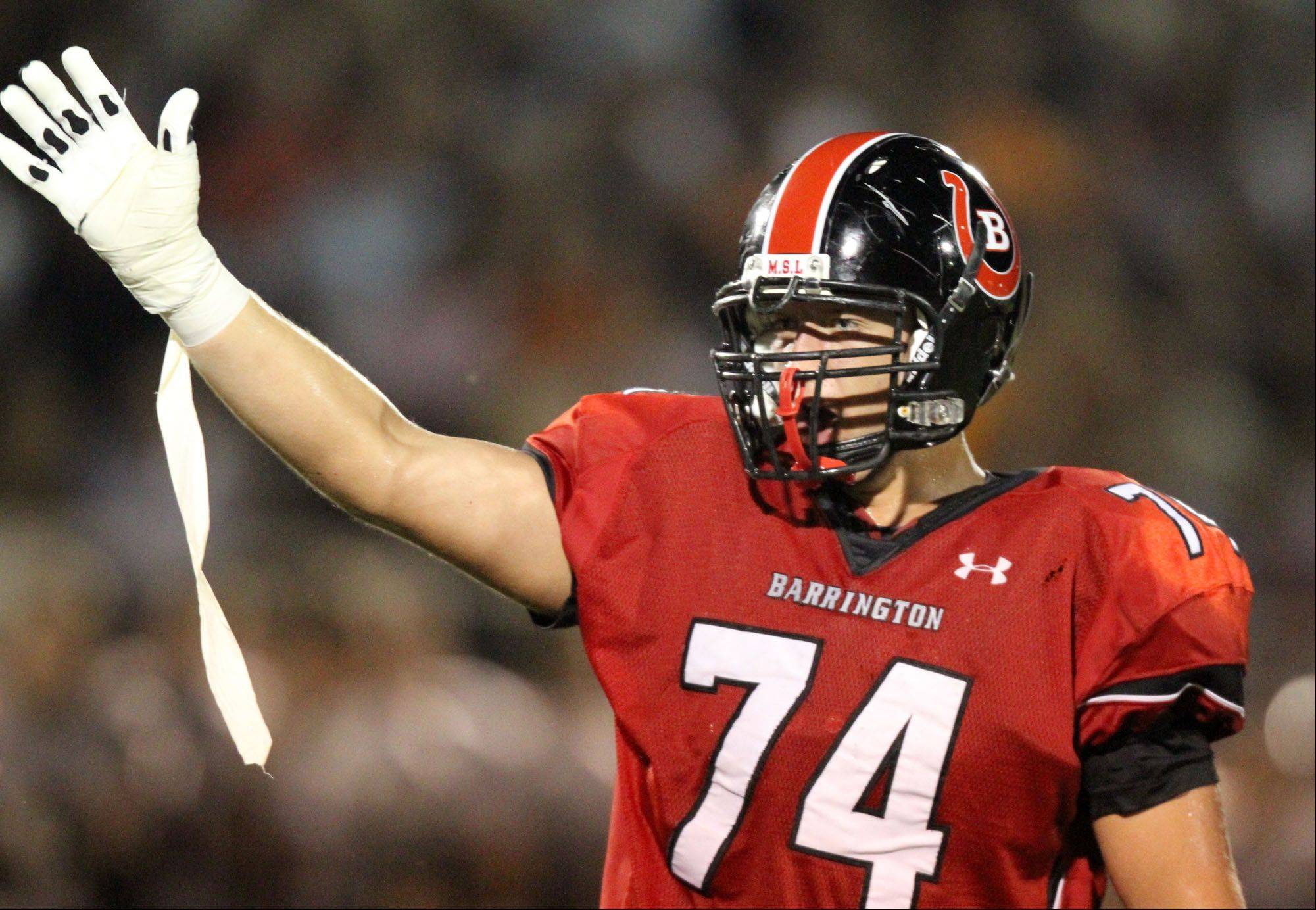 Barrington lineman Mason Darrow is pointed toward a football future at Princeton.
