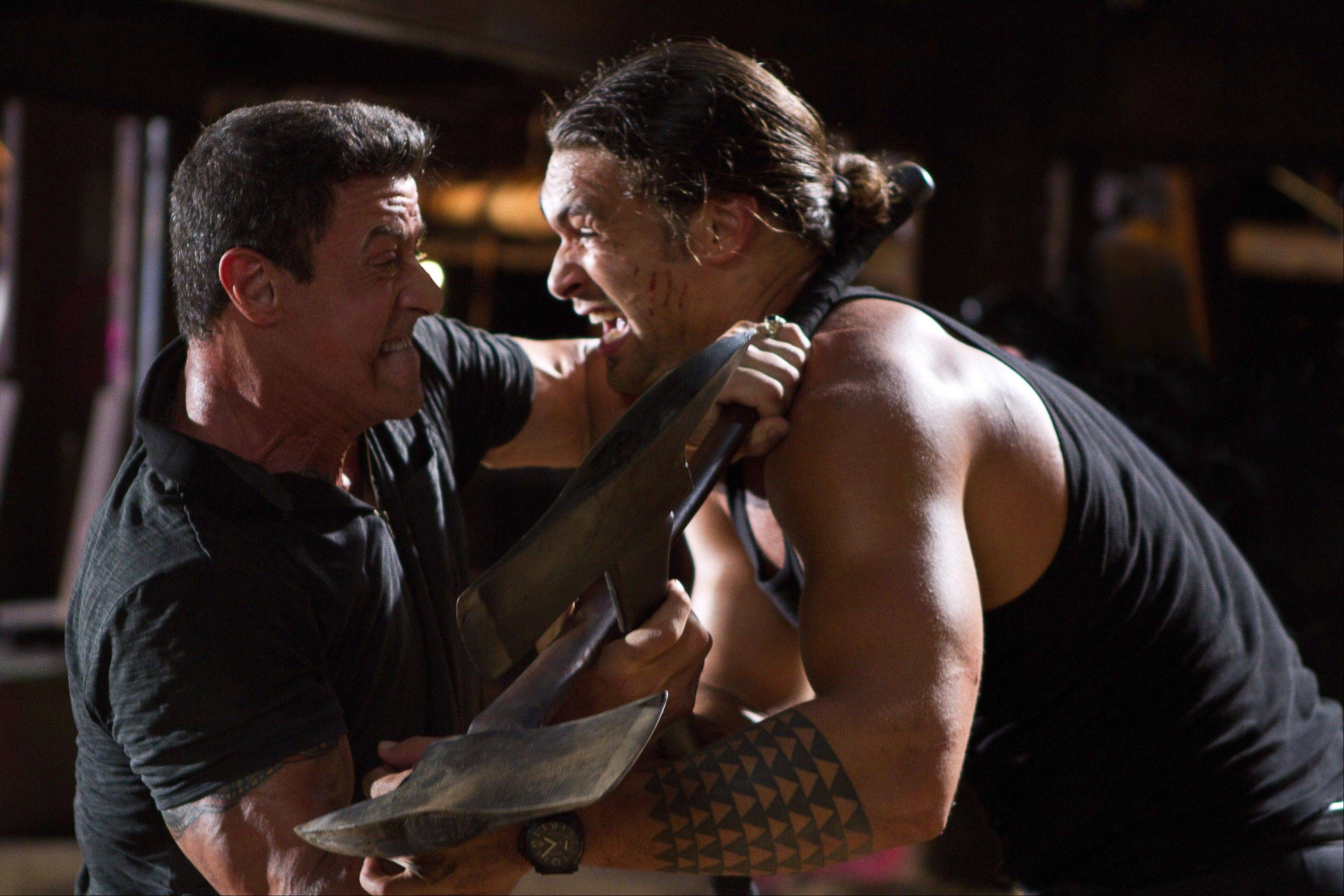 "A professional hit man (Sylvester Stallone) has an ax to grind with a psychopathic enforcer (Jason Momoa) in Walter Hill's arrested action film ""Bullet to the Head."""