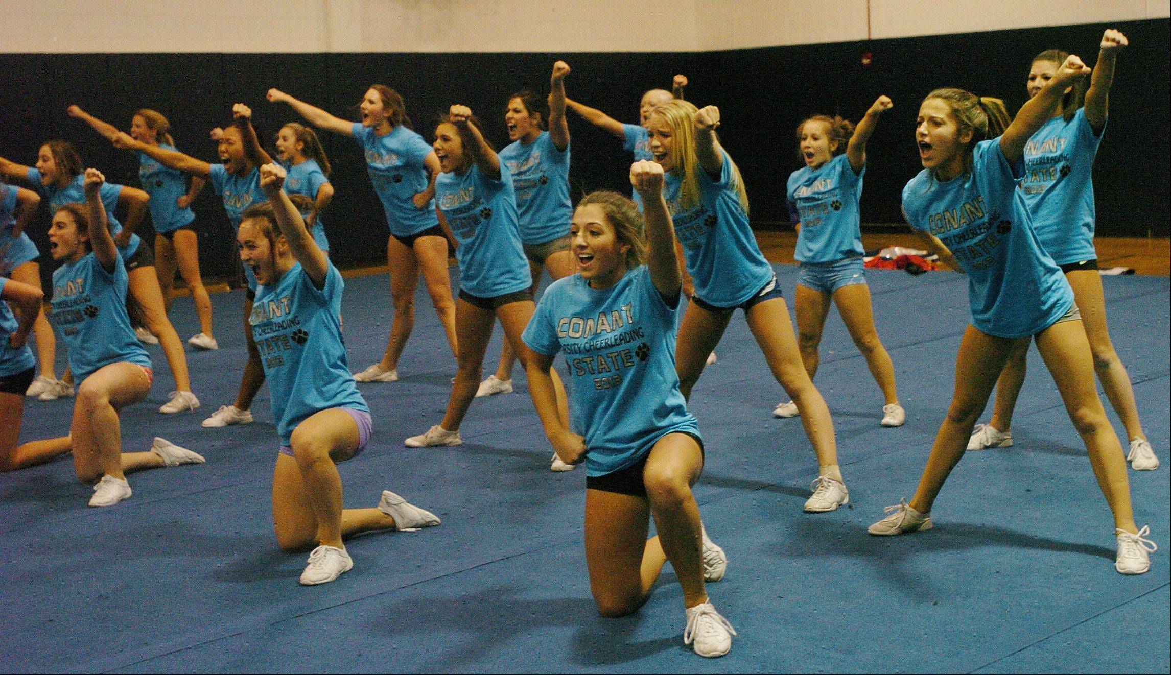 The Conant cheerleading squad gets in one final practice before heading to state.