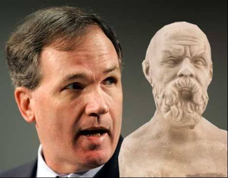 Patrick Fitzgerald, left, and Socrates.