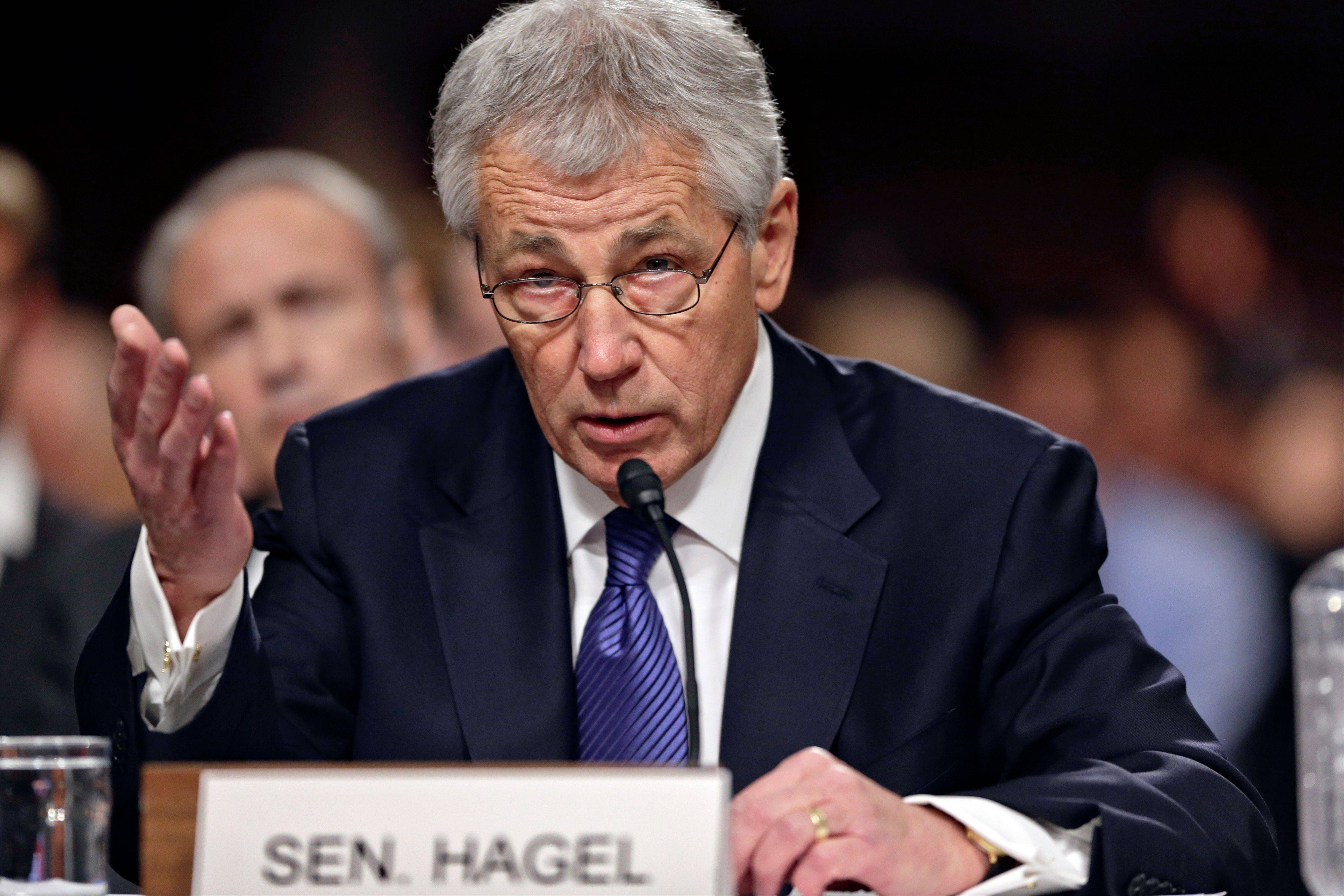 Republican Chuck Hagel, President Obama's choice for defense secretary, testifies before the Senate Armed Services Committee during his confirmation hearing, on Capitol Hill in Washington, Thursday, Jan. 31, 2013.
