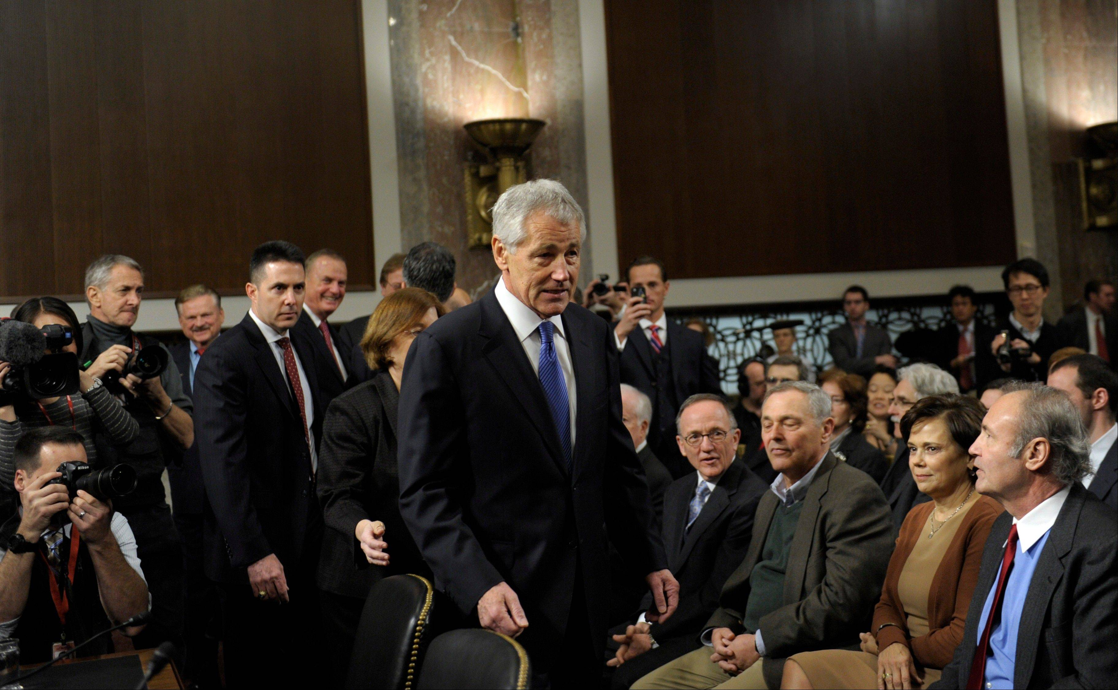 Former Republican Nebraska Sen. Chuck Hagel, President Barack Obama's choice for defense secretary, arrives on Capitol Hill in Washington, Thursday, Jan. 31, 2013, to testify before the Senate Armed Services Committee hearing on his nomination.