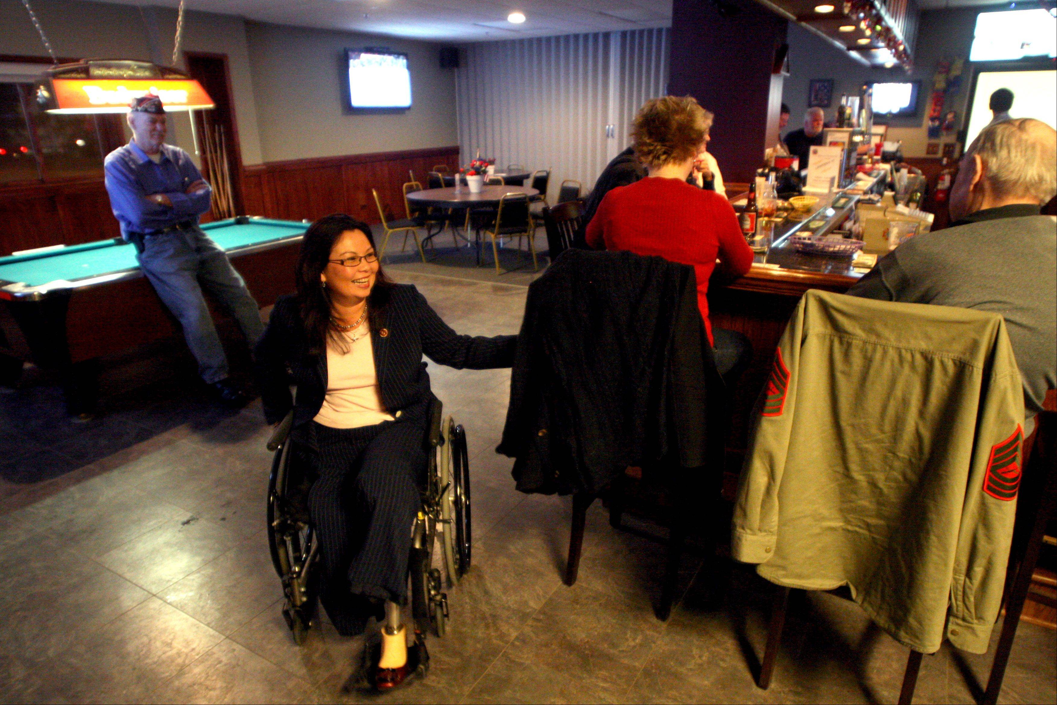 U.S. Rep. Tammy Duckworth visited Elgin VFW Post 1307 on Wednesday night to contribute to efforts to donate supplies for wounded soldiers overseas.