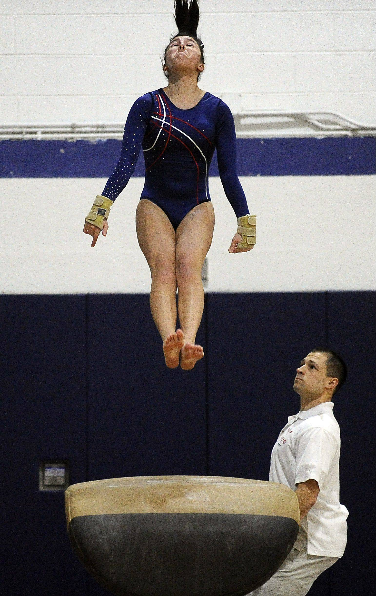 Conant's Sarah Zorrilla on the vault at Thursday's Conant regional.