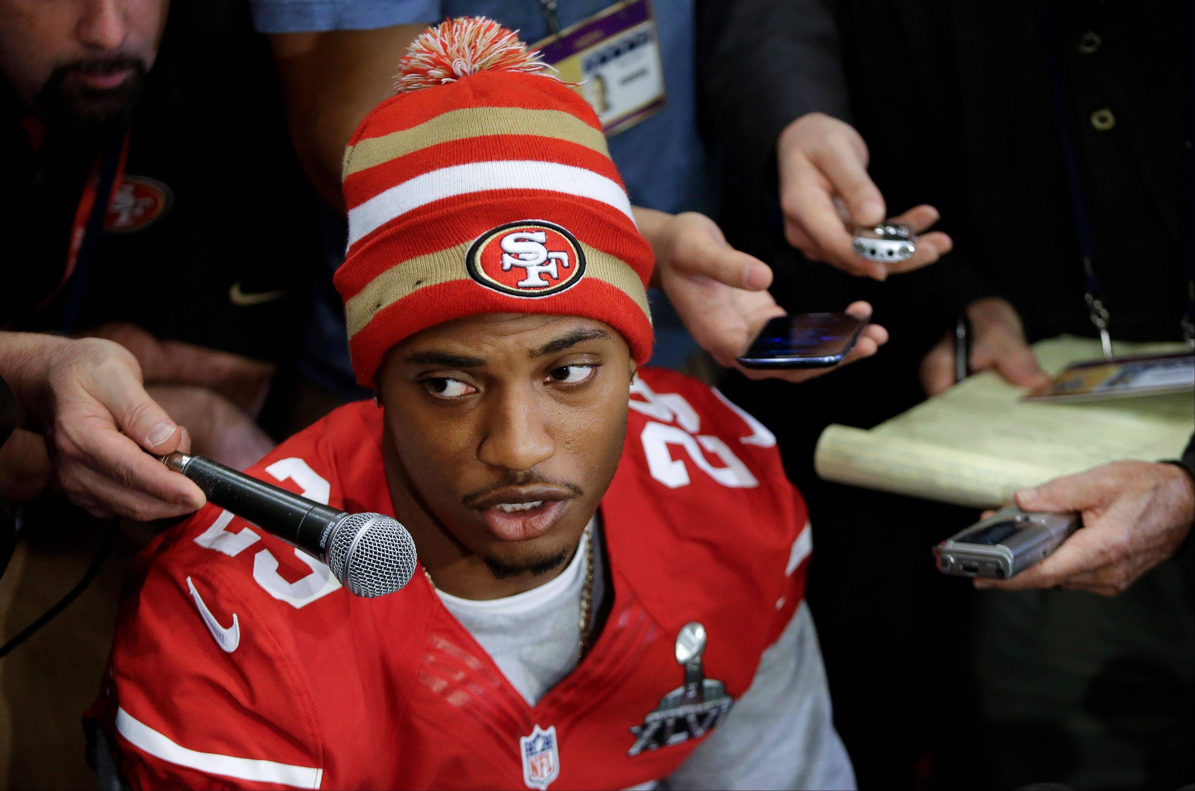 "San Francisco 49ers cornerback Chris Culliver answers questions Thursday, Jan. 31, 2013, in New Orleans, regarding anti-gay remarks he made during Super Bowl media day Tuesday. Culliver apologized for the comments he made to a comedian, saying ""that's not what I feel in my heart."" The 49ers are scheduled to play the Baltimore Ravens in the NFL Super Bowl XLVII football game on Feb. 3."