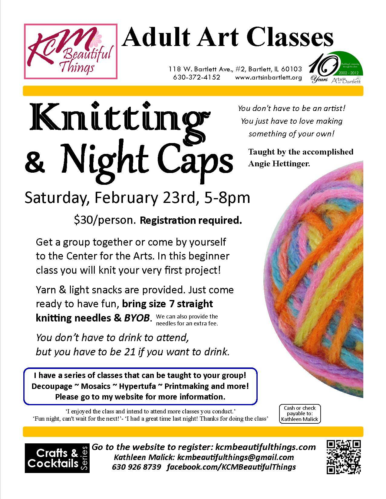 Knitting & Night Caps 2/23/13, 5-8pm. $30/person.