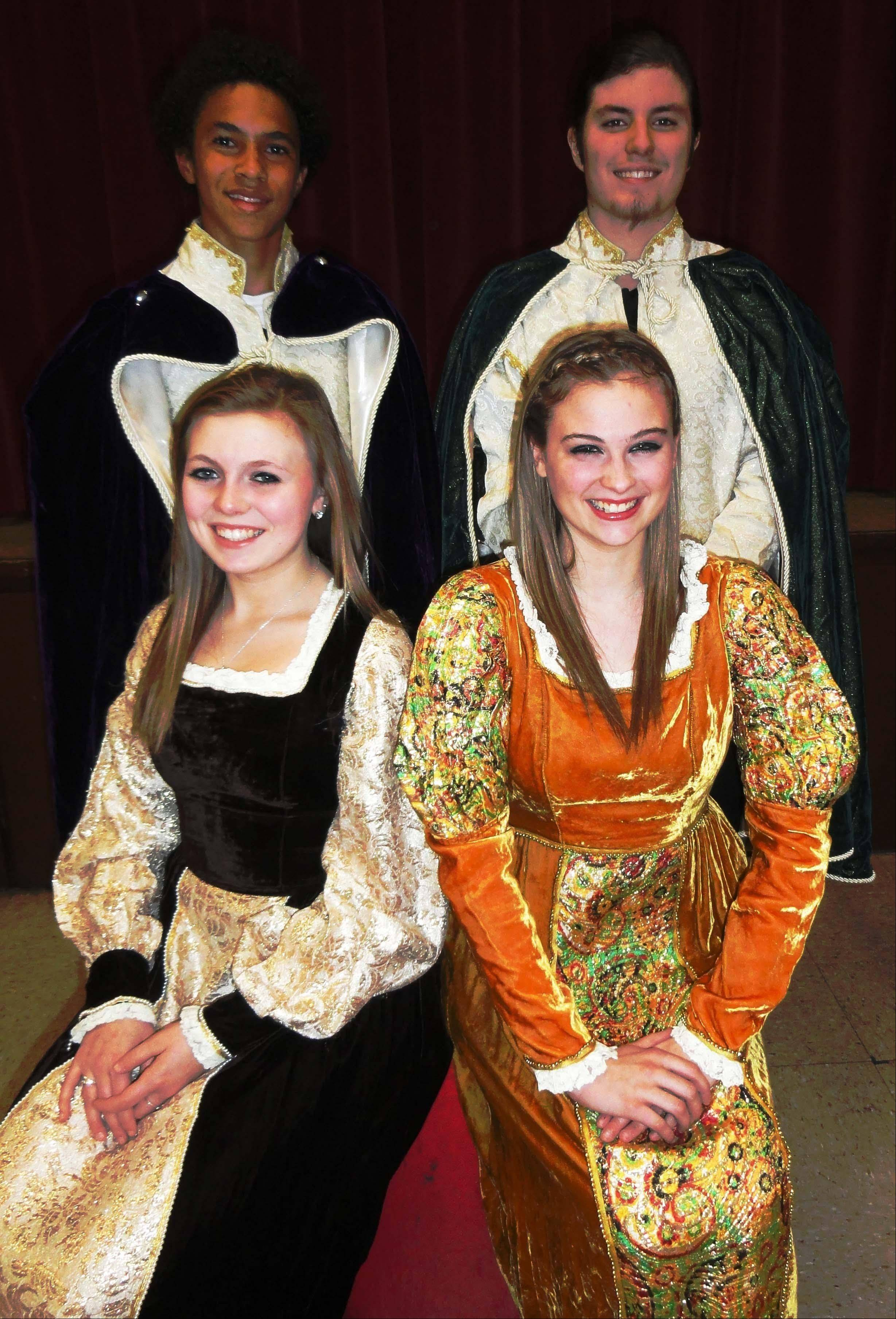 "Pictured front row: Cassidy Murphy of Schaumburg as Hermia and Jackie Podgorny of Inverness as Helena; second row: Caleb Mayhorn of Wheeling as Lysander and Matt Goodmanson of Arlington Heights as Demetrius in William Shakespeare's ""A Midsummer Night's Dream."""