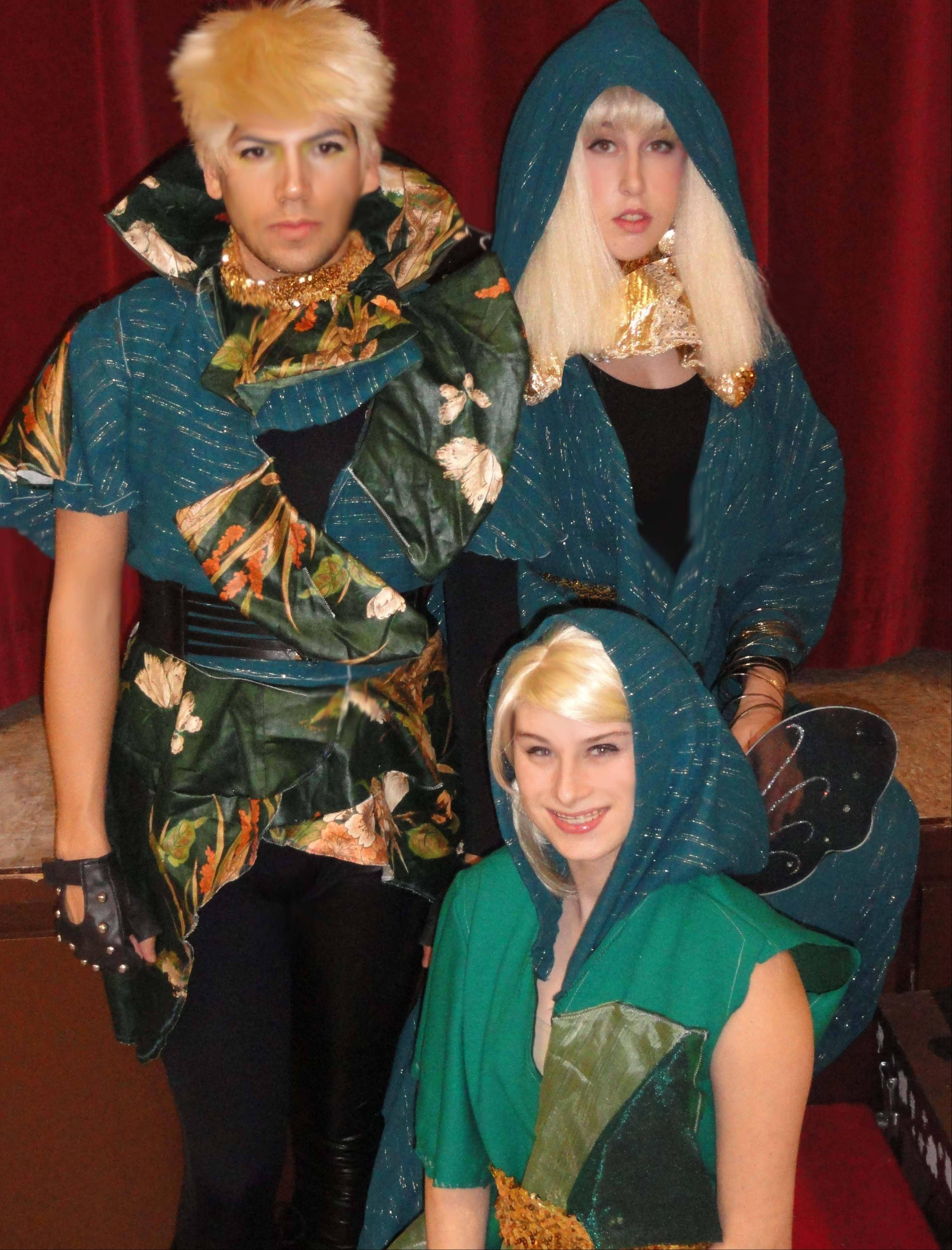 "Jamie Podgorny of Inverness as Puck; Jonah Parra of Palatine as Oberon; and Breton Spiller of Mount Prospect as Titania, in the February production of ""A Midsummer Night's Dream"" at Bethel Lutheran Church, in Palatine."