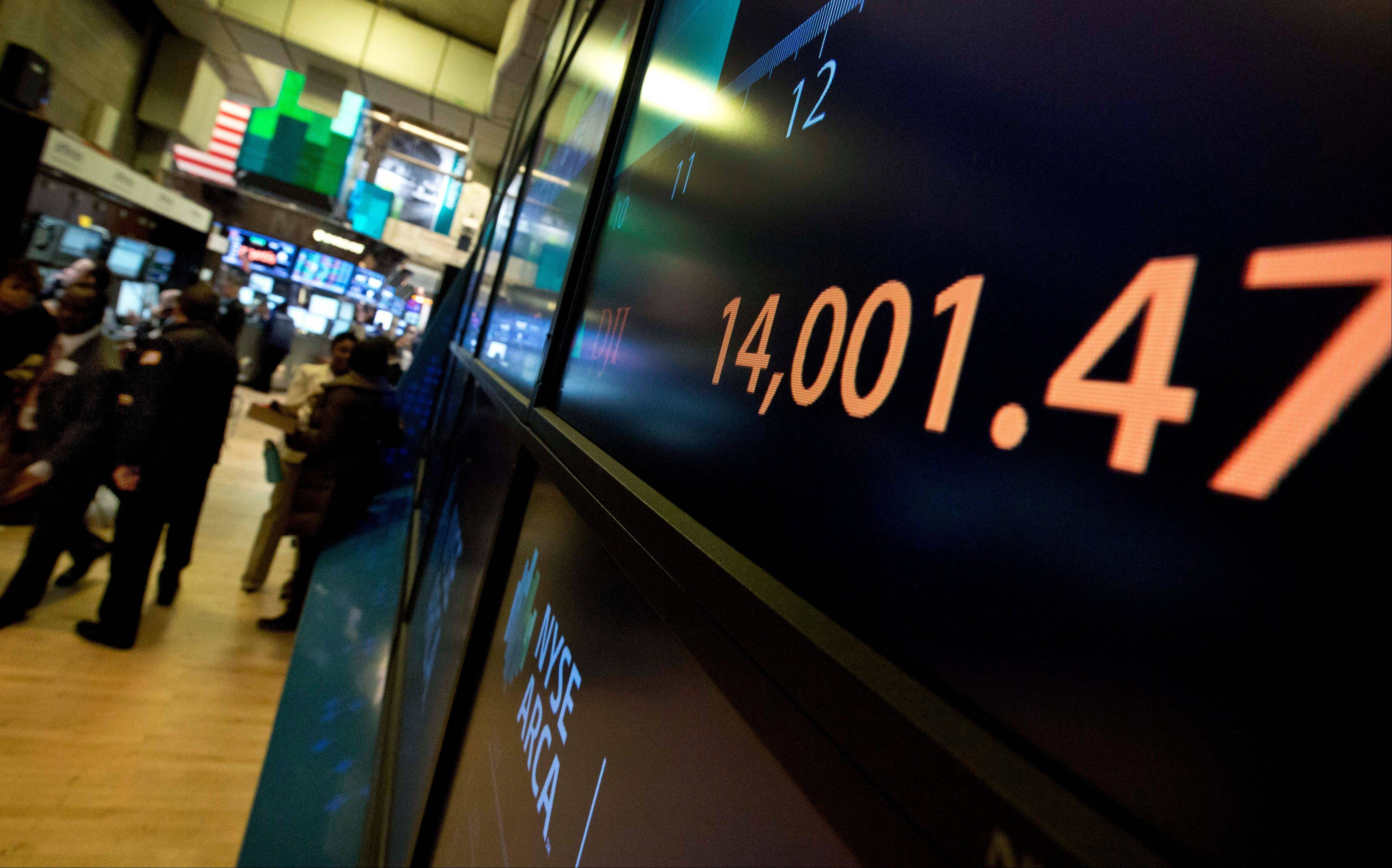 A screen on the trading floor of the New York Stock Exchange shows the Dow Jones industrial average above 14,000 for the first time since October 2007.