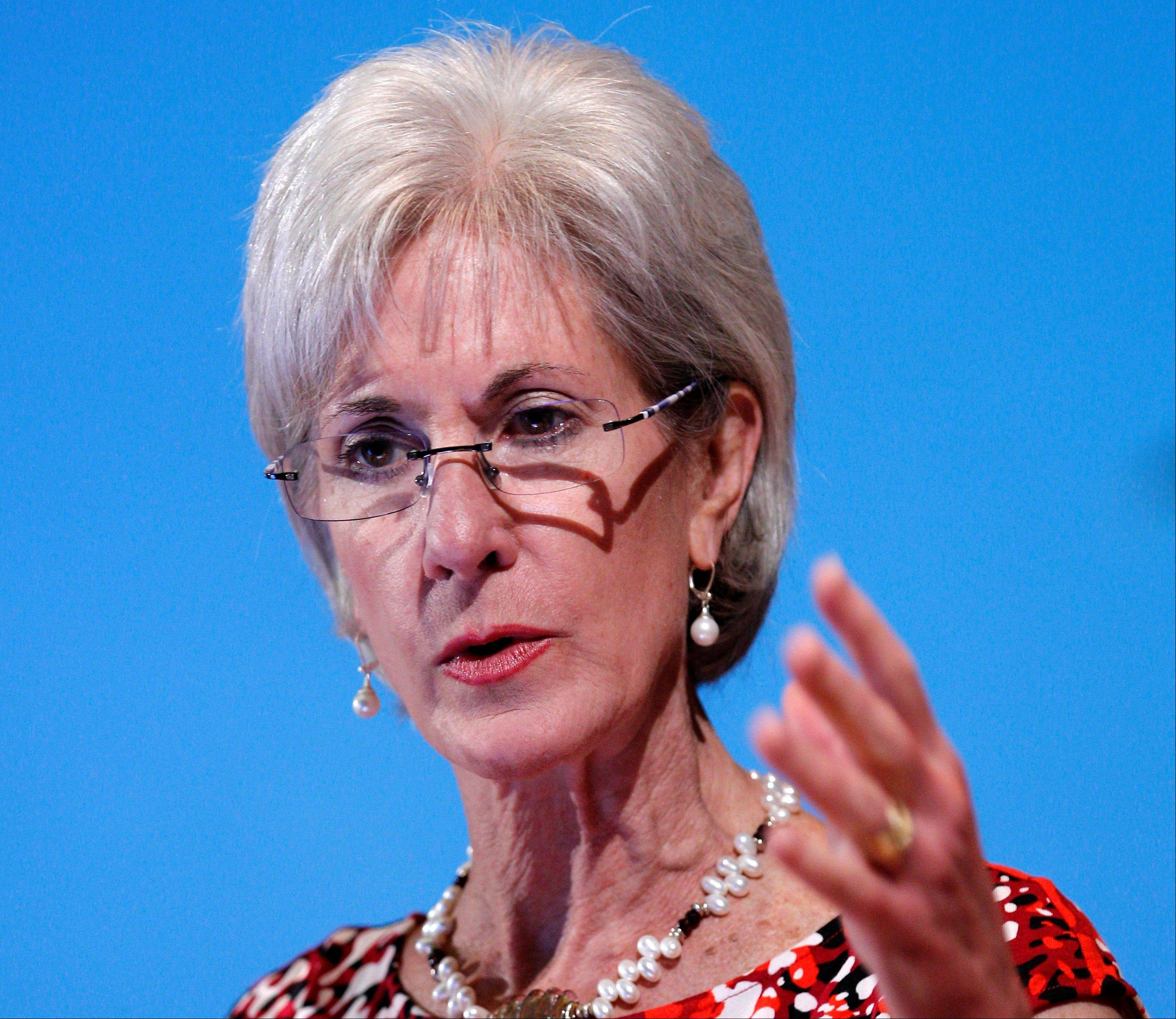 Health and Human Services Secretary Kathleen Sebelius speaks in Bethesda, Md.